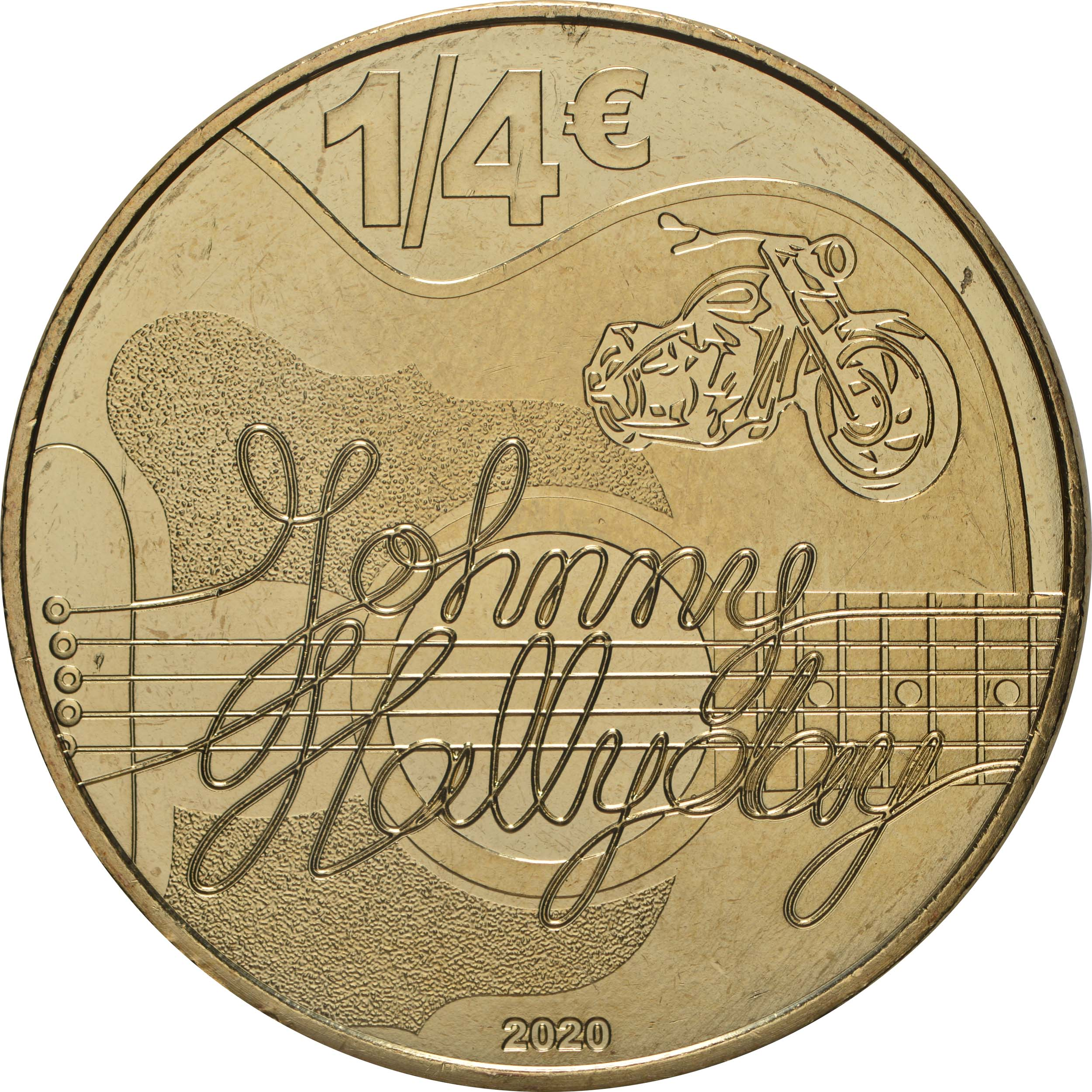 Rückseite:Frankreich : 1/4 Euro Johnny Hallyday  2020 Stgl.