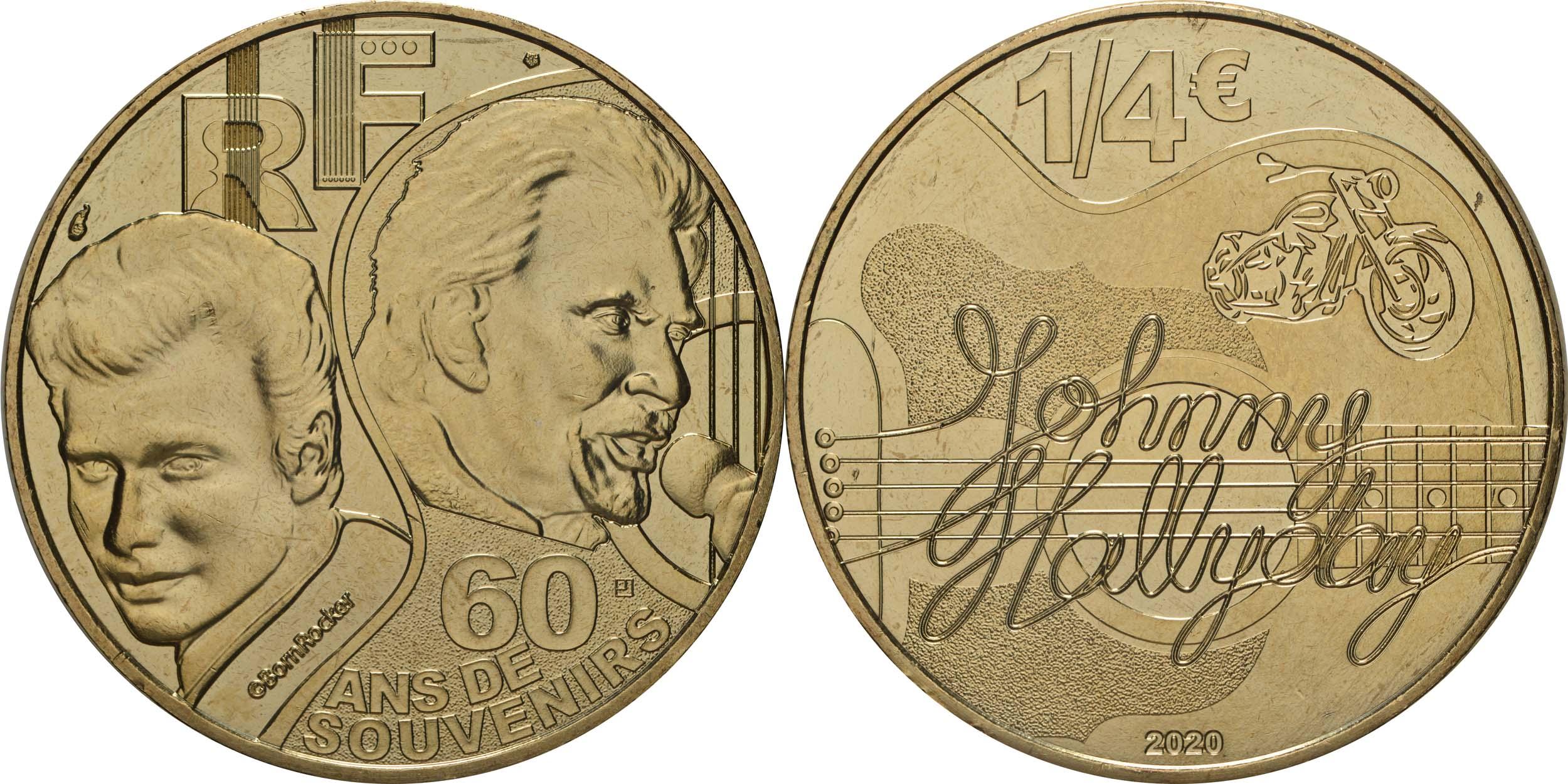 Lieferumfang:Frankreich : 1/4 Euro Johnny Hallyday  2020 Stgl.