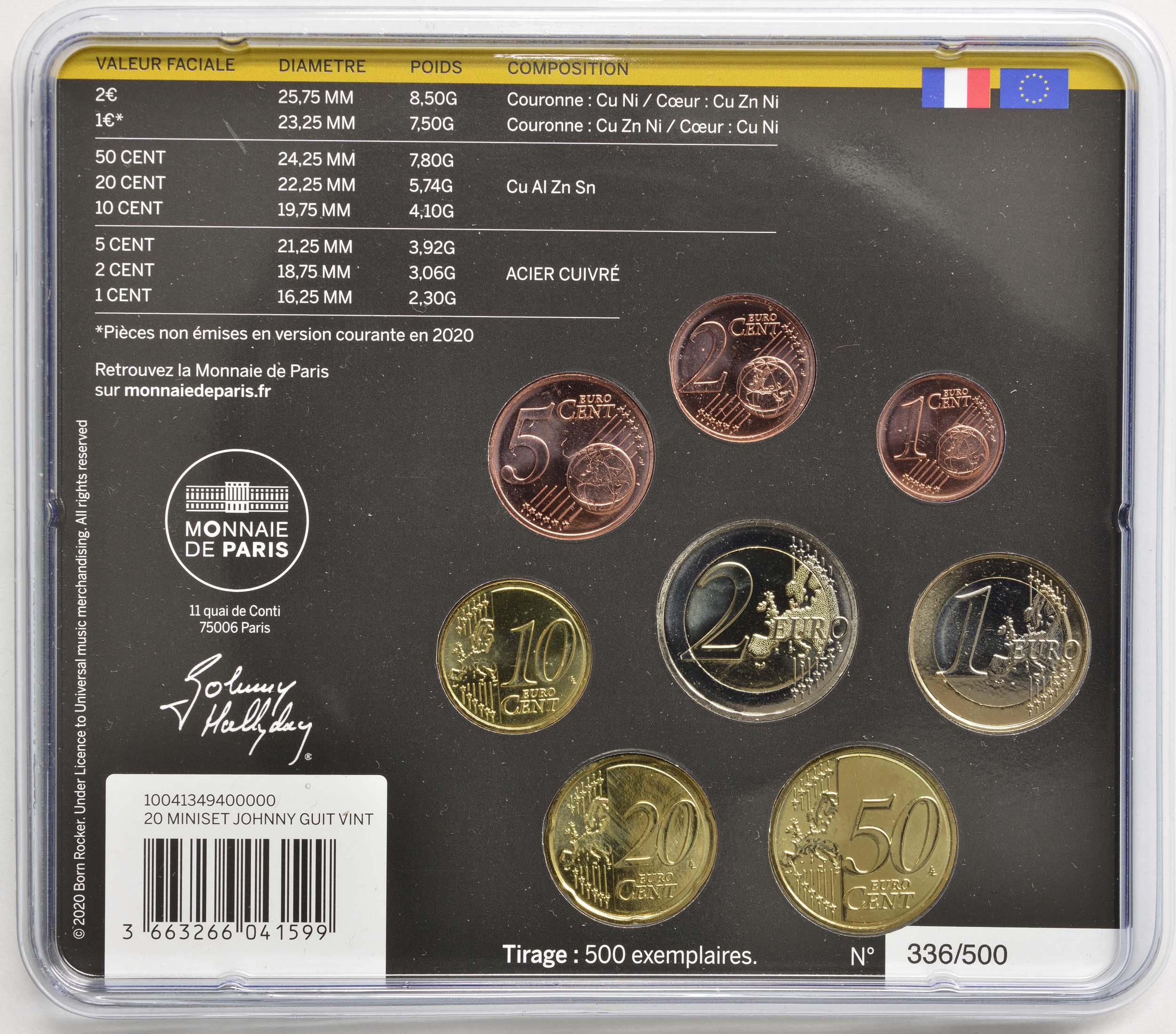 Zertifikat:Frankreich : 3,88 Euro KMS Johnny Hallyday Guitar Vintage  2020 Stgl.