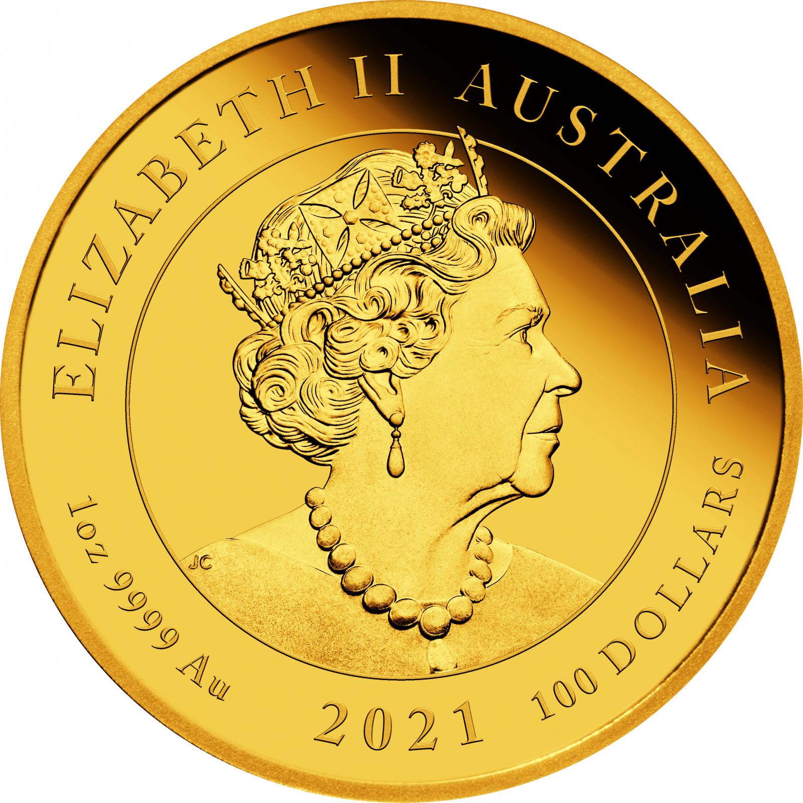 Rückseite:Australien : 100 Dollar Mythical Creatures - Unicorn 1oz Gold  2021 PP