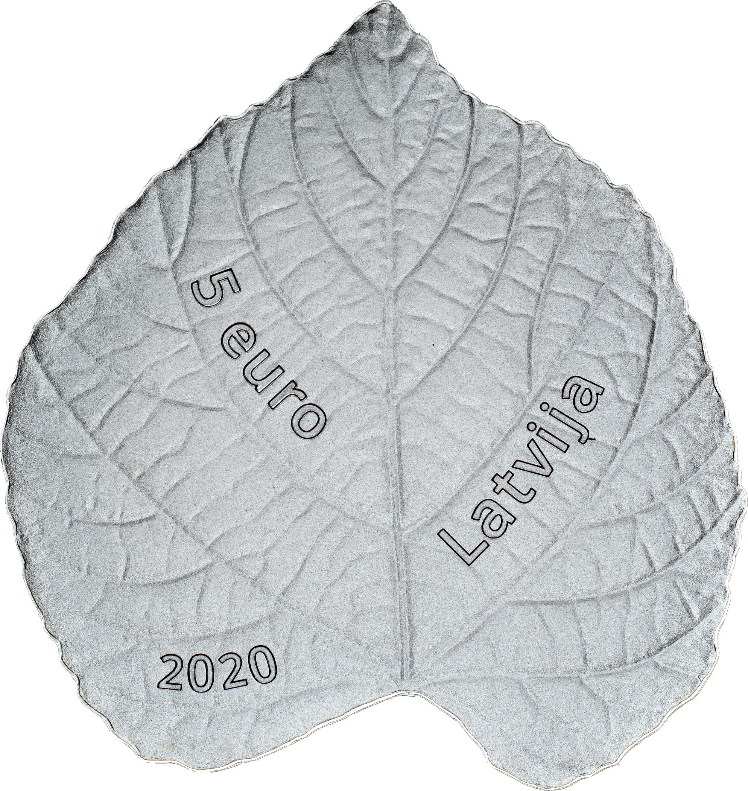 Rückseite:Lettland : 5 Euro Lindenblatt  2020 PP