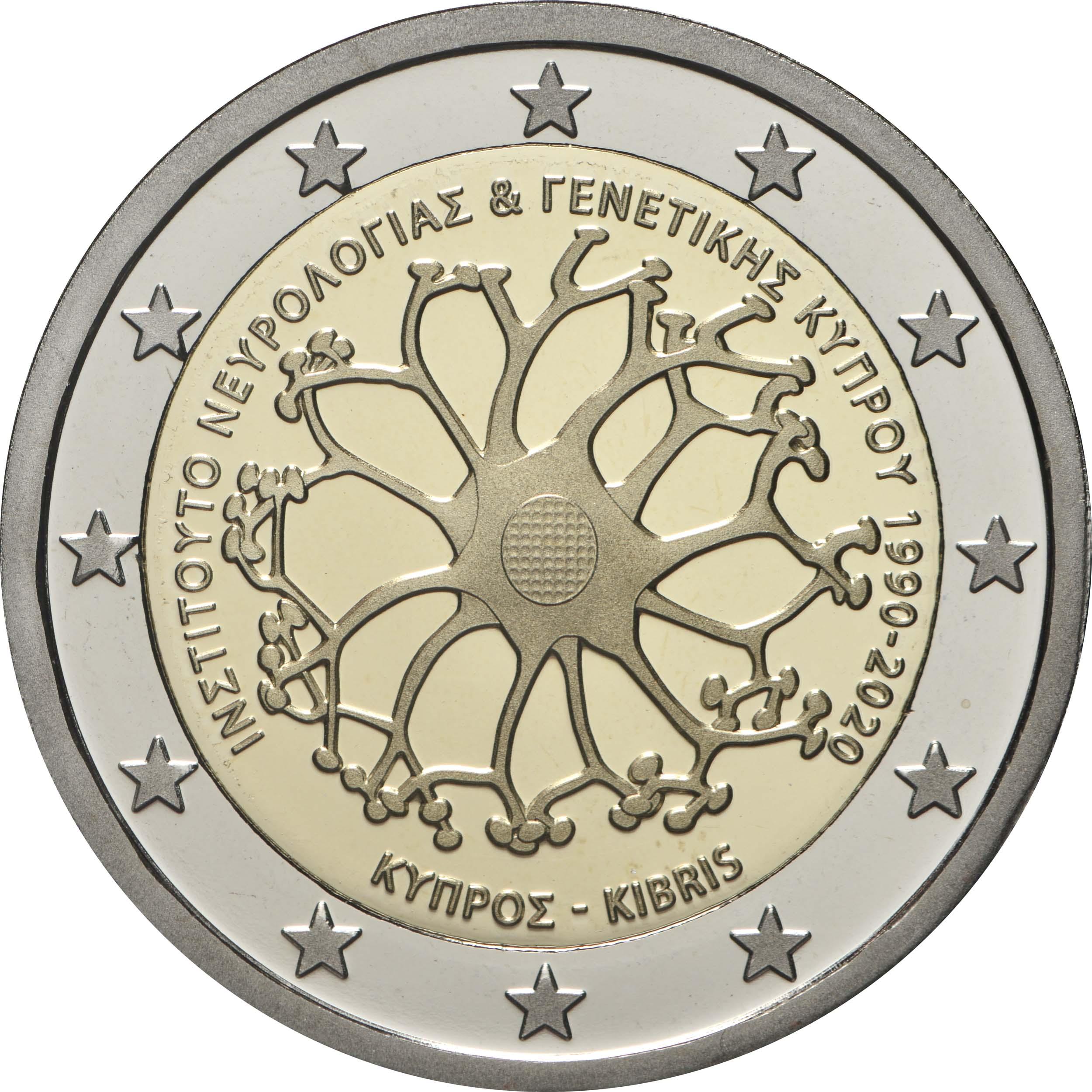 Rückseite:Zypern : 2 Euro 30 Jahre Institut für Neurologie und Genetik  2020 PP