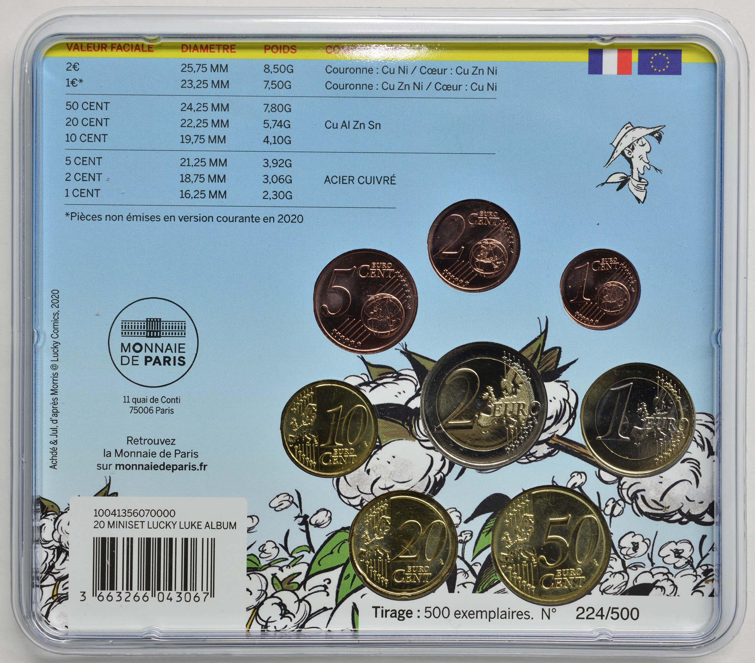 Zertifikat:Frankreich : 3,88 Euro KMS Lucky Luke  2020 Stgl.