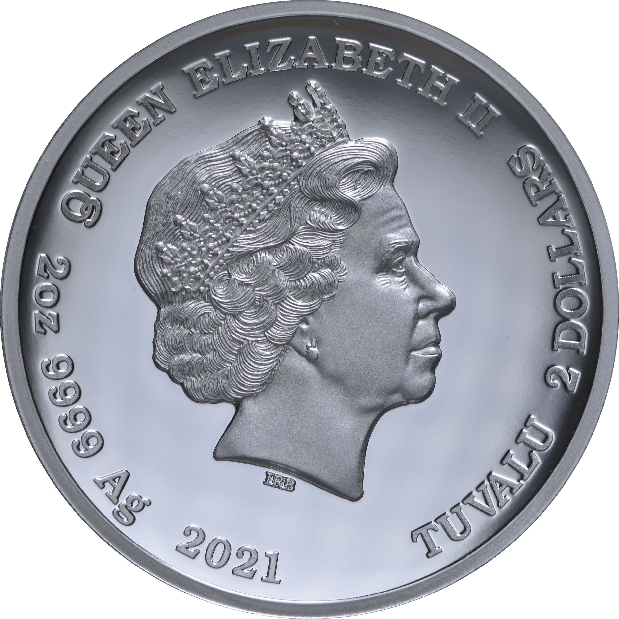 Rückseite:Tuvalu : 2 Dollar Homer Simpson 2oz Hohes Relief  2021 PP