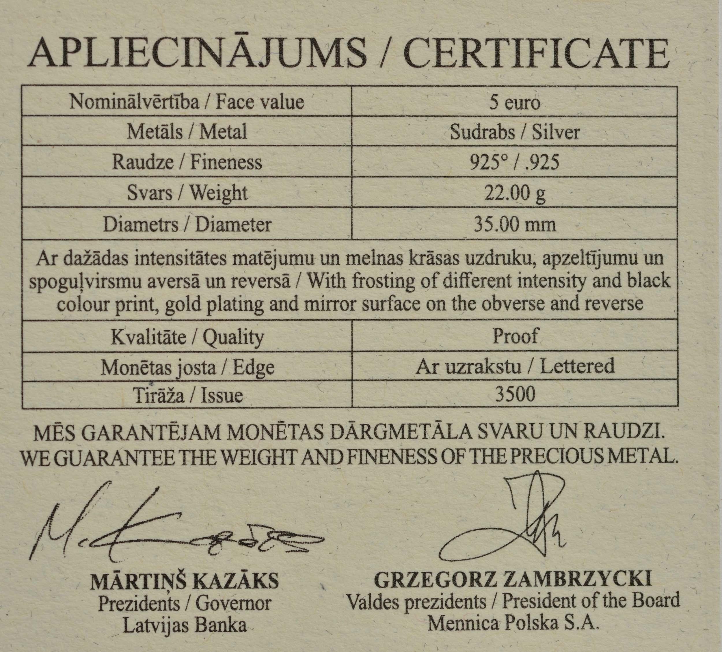 Zertifikat:Lettland : 5 Euro Persönliche Freiheit  2020 PP