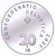 Vorderseite:Schweiz : 20 sfr Friedrich Dürrenmatt  2021 Stgl.