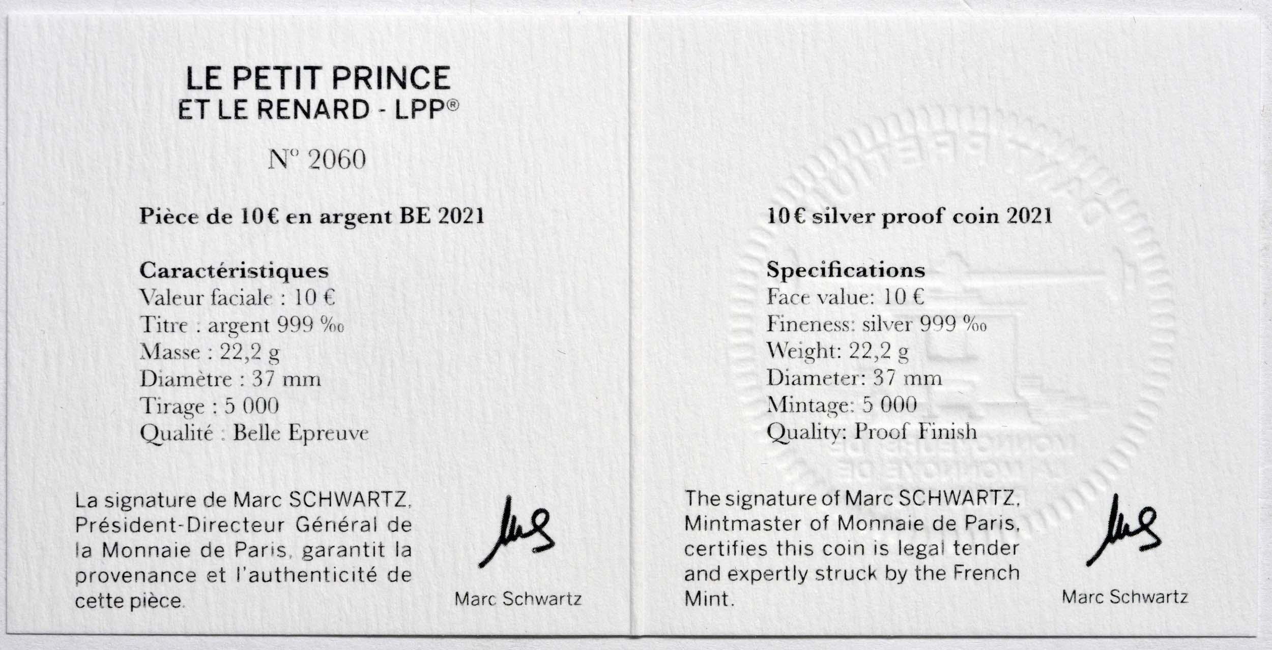 Zertifikat:Frankreich : 10 Euro Fuchs  2021 PP
