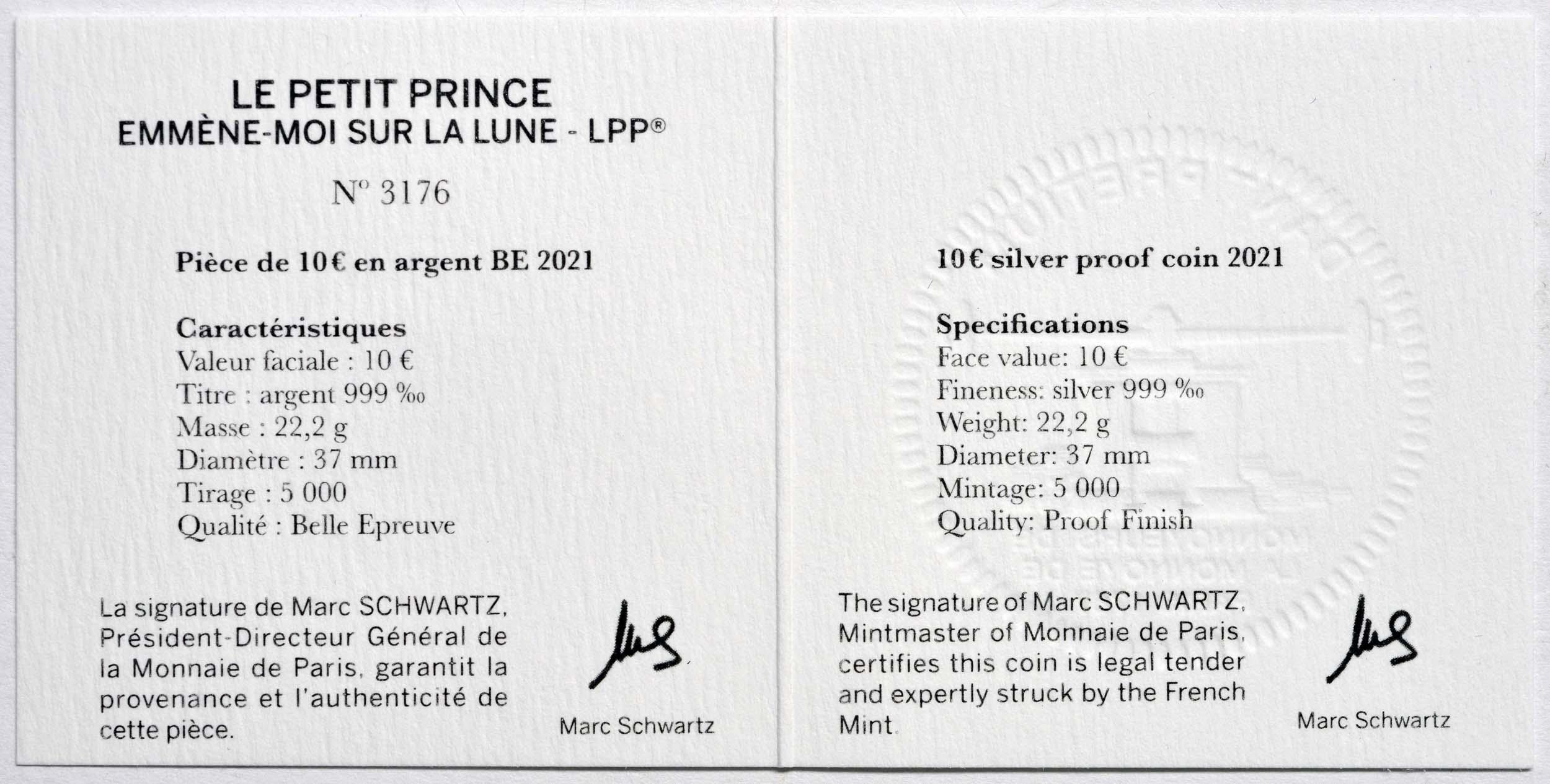 Zertifikat:Frankreich : 10 Euro Mond  2021 PP