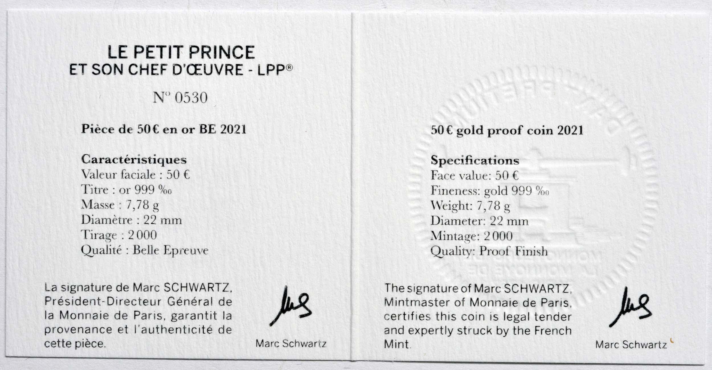 Zertifikat:Frankreich : 50 Euro Buch  2021 PP