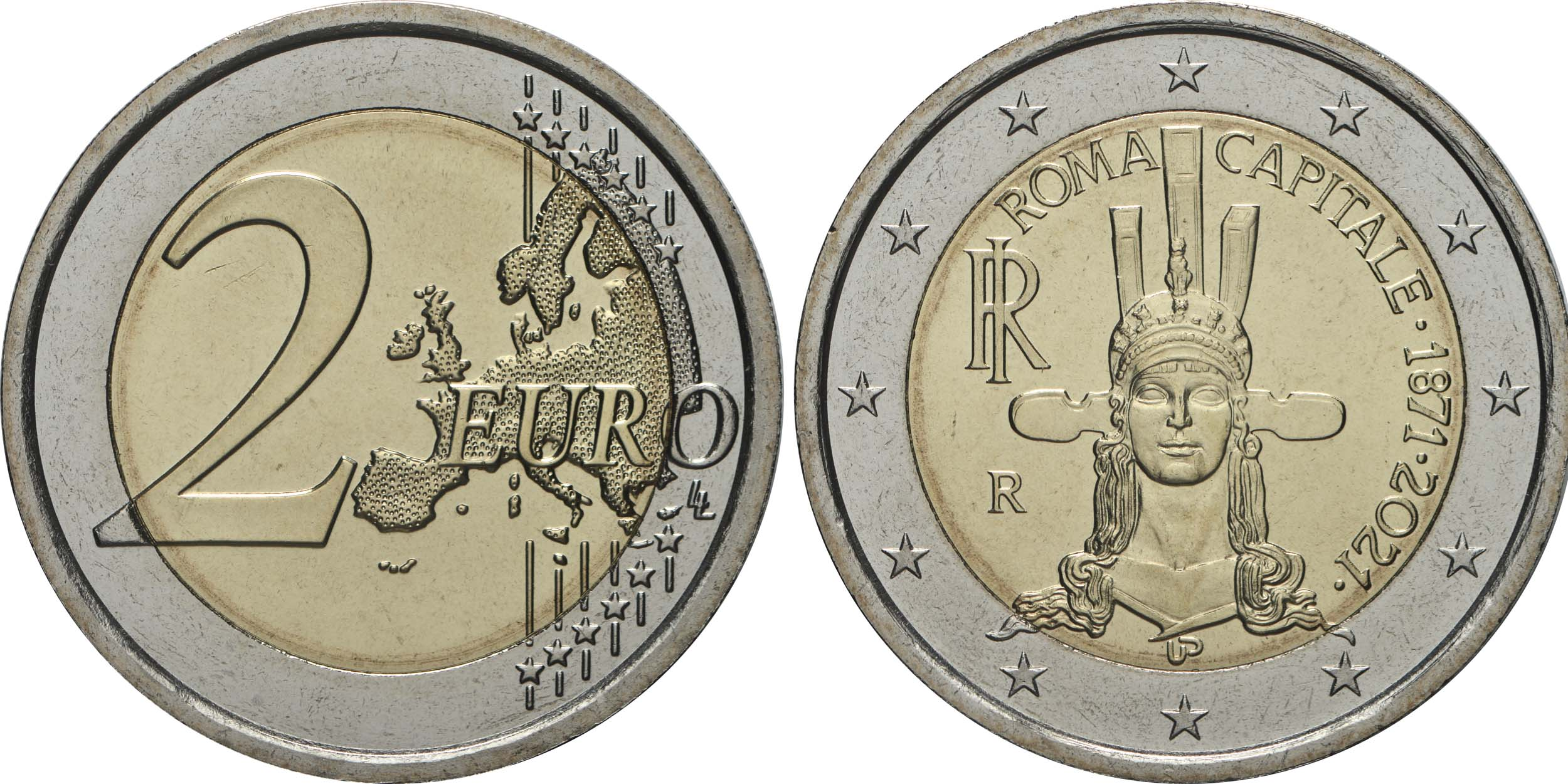 Lieferumfang:Italien : 2 Euro Rom - 150 Jahre Hauptstadt von Italien  2021 bfr