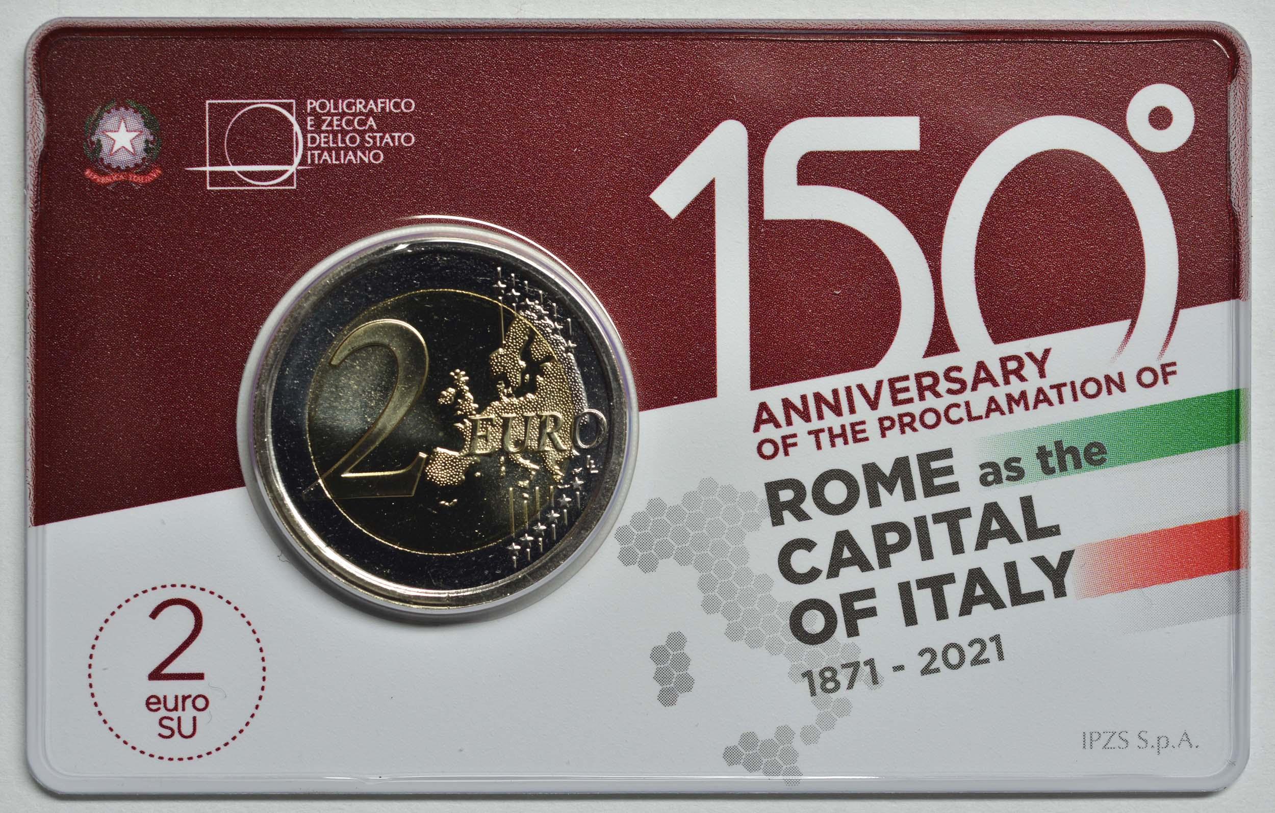 Rückseite:Italien : 2 Euro Rom - 150 Jahre Hauptstadt von Italien  2021 Stgl.