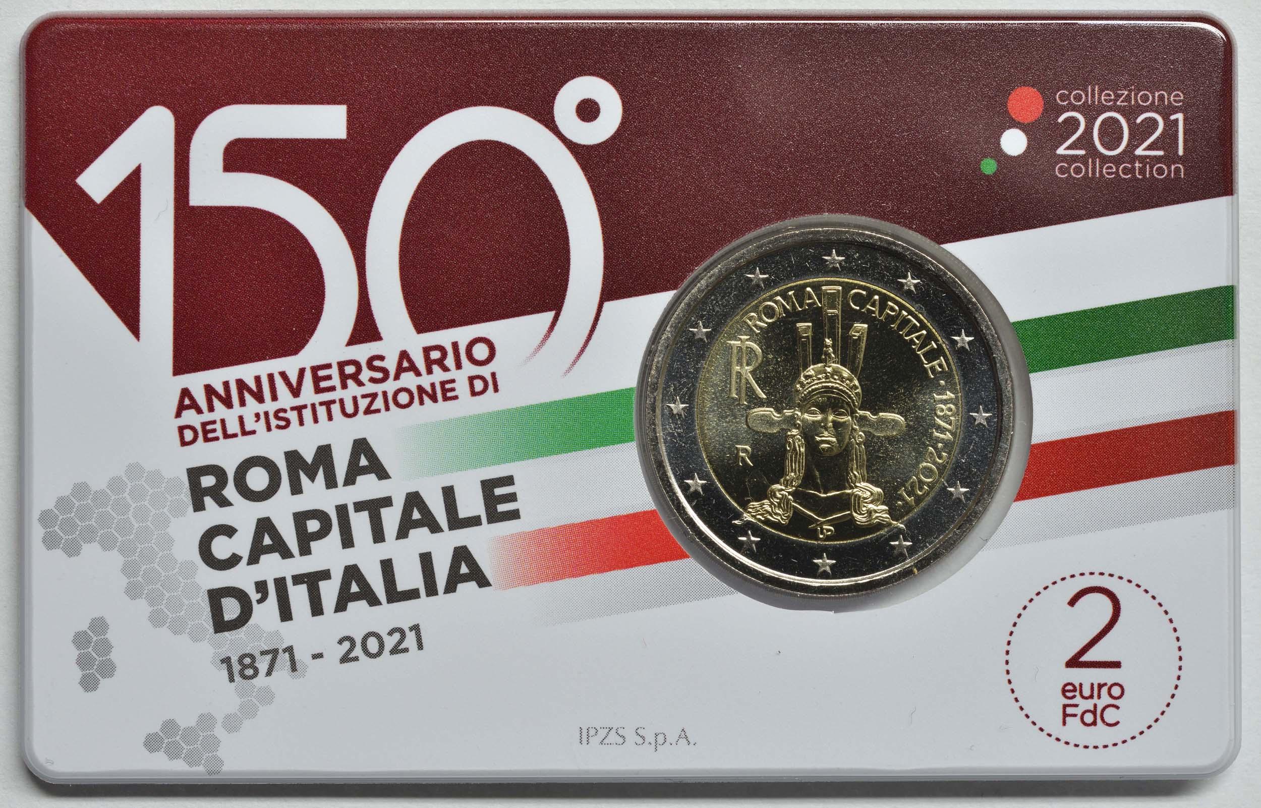 Vorderseite:Italien : 2 Euro Rom - 150 Jahre Hauptstadt von Italien  2021 Stgl.