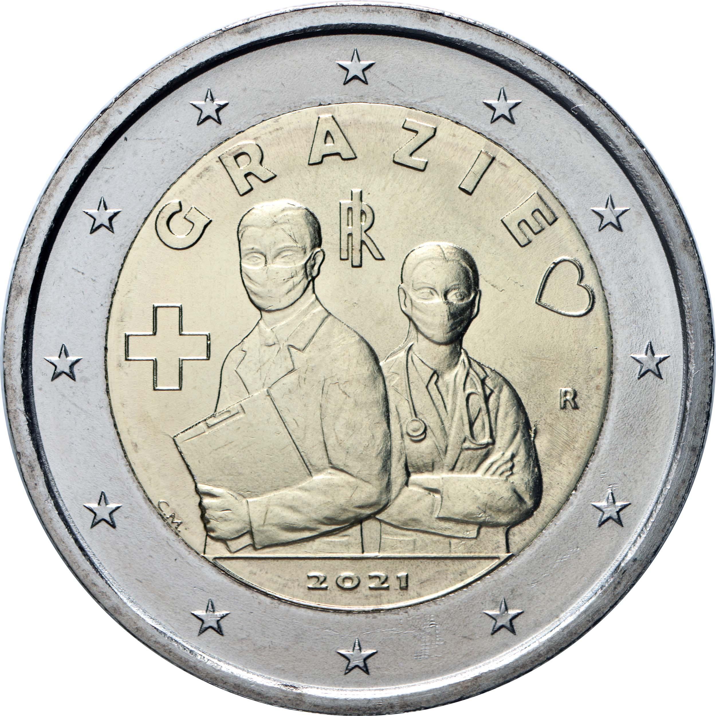Rückseite:Italien : 2 Euro Medizinische Fachkräfte Grazie  2021 bfr