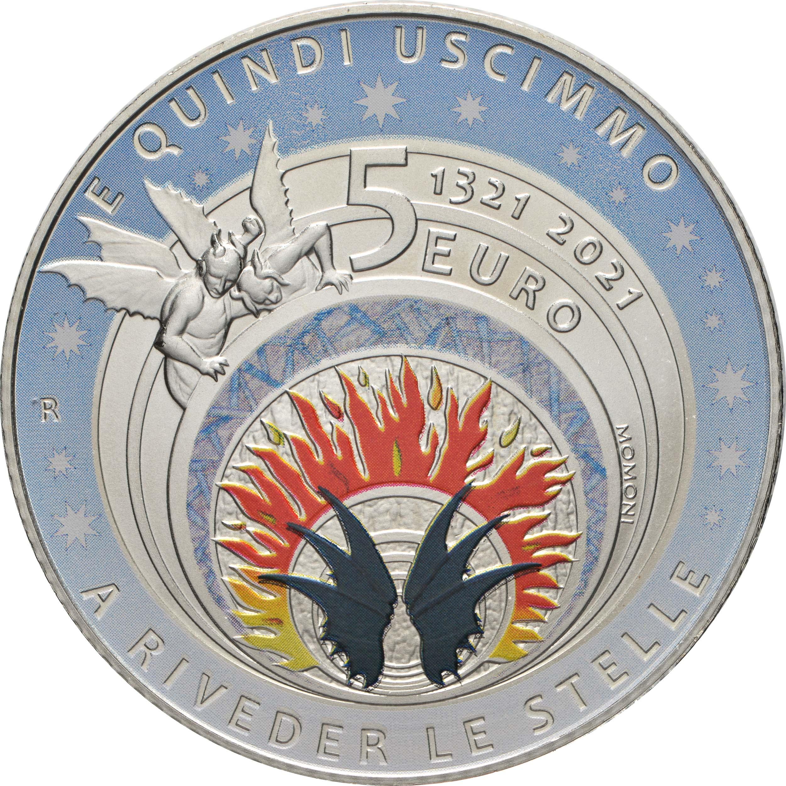 Rückseite:Italien : 5 Euro Dante / Inferno farbig  2021 Stgl.