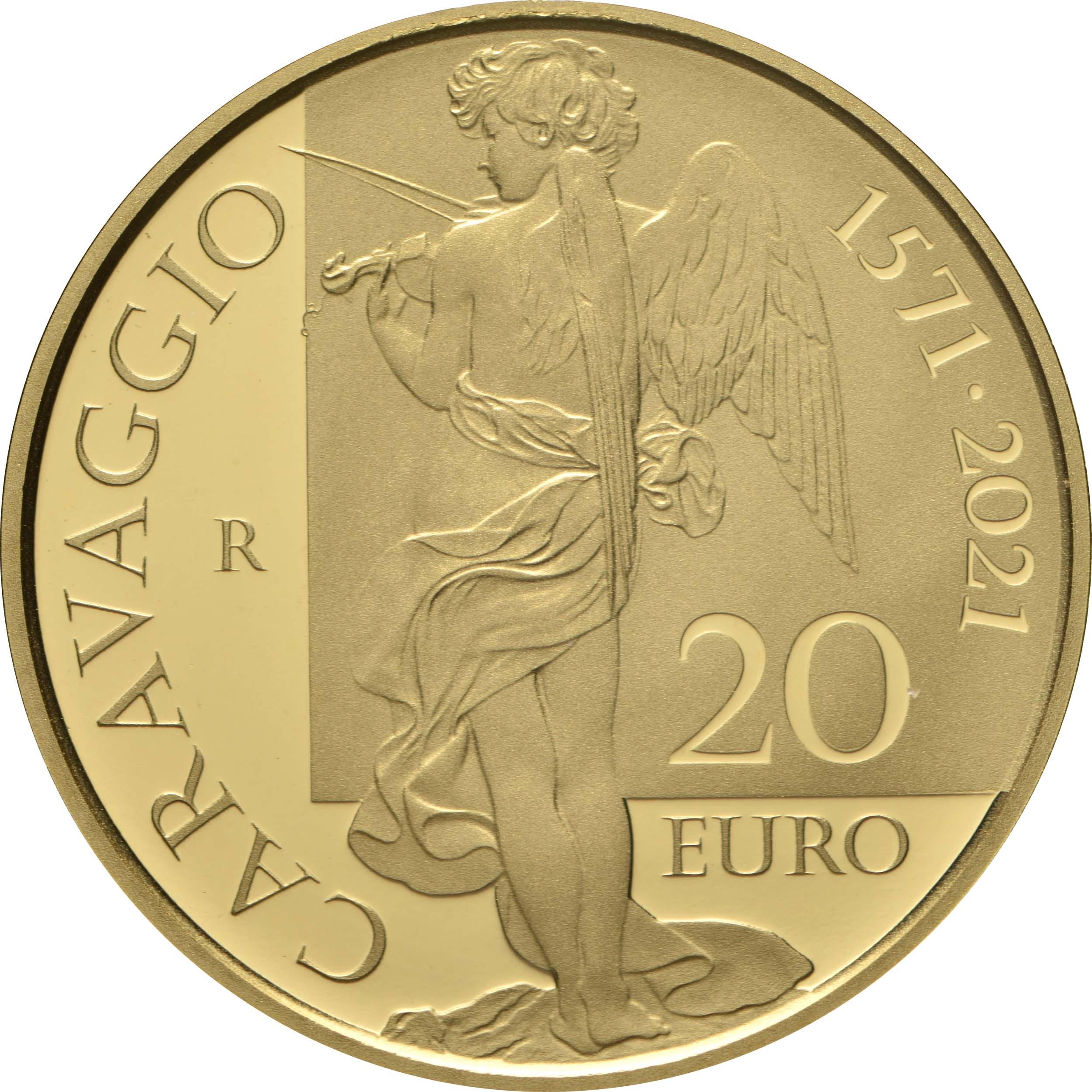 Rückseite:Italien : 20 Euro 450. Geburtstag Caravaggio  2021 PP