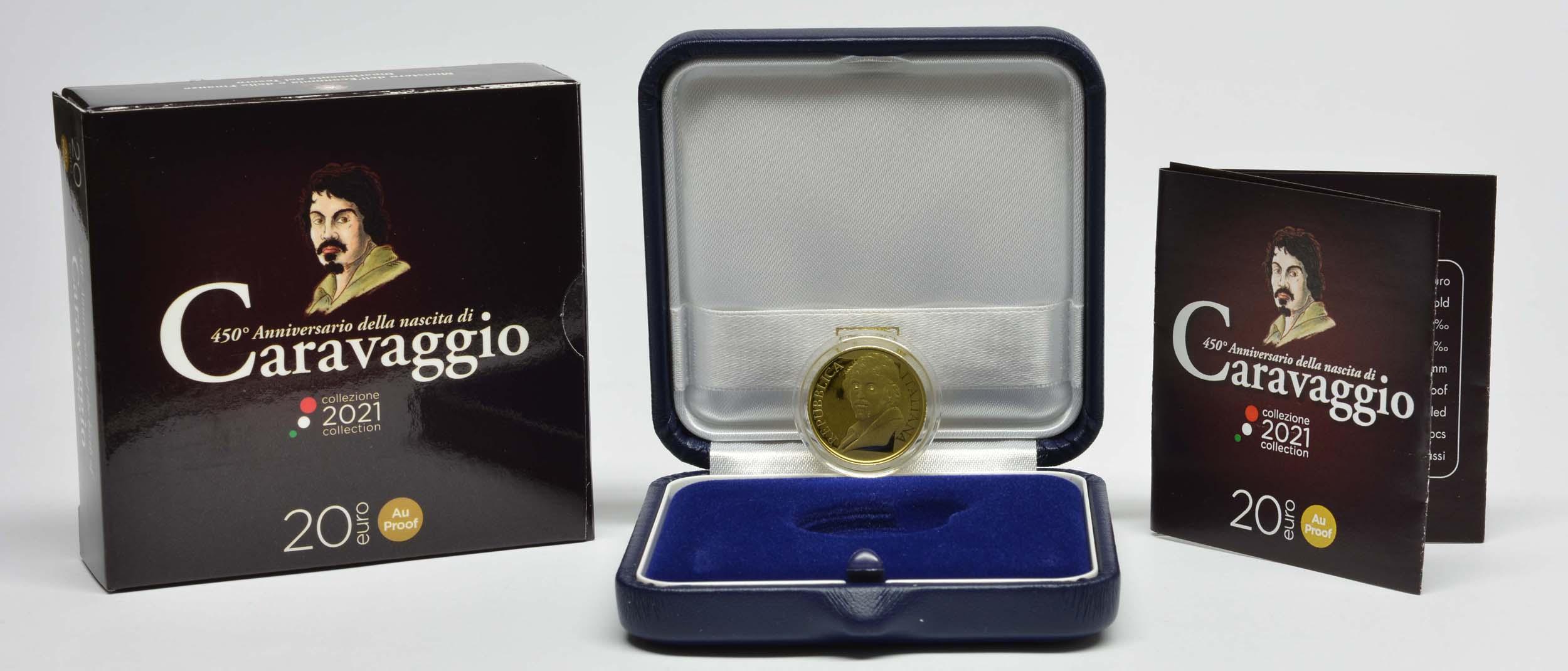 Lieferumfang:Italien : 20 Euro 450. Geburtstag Caravaggio  2021 PP