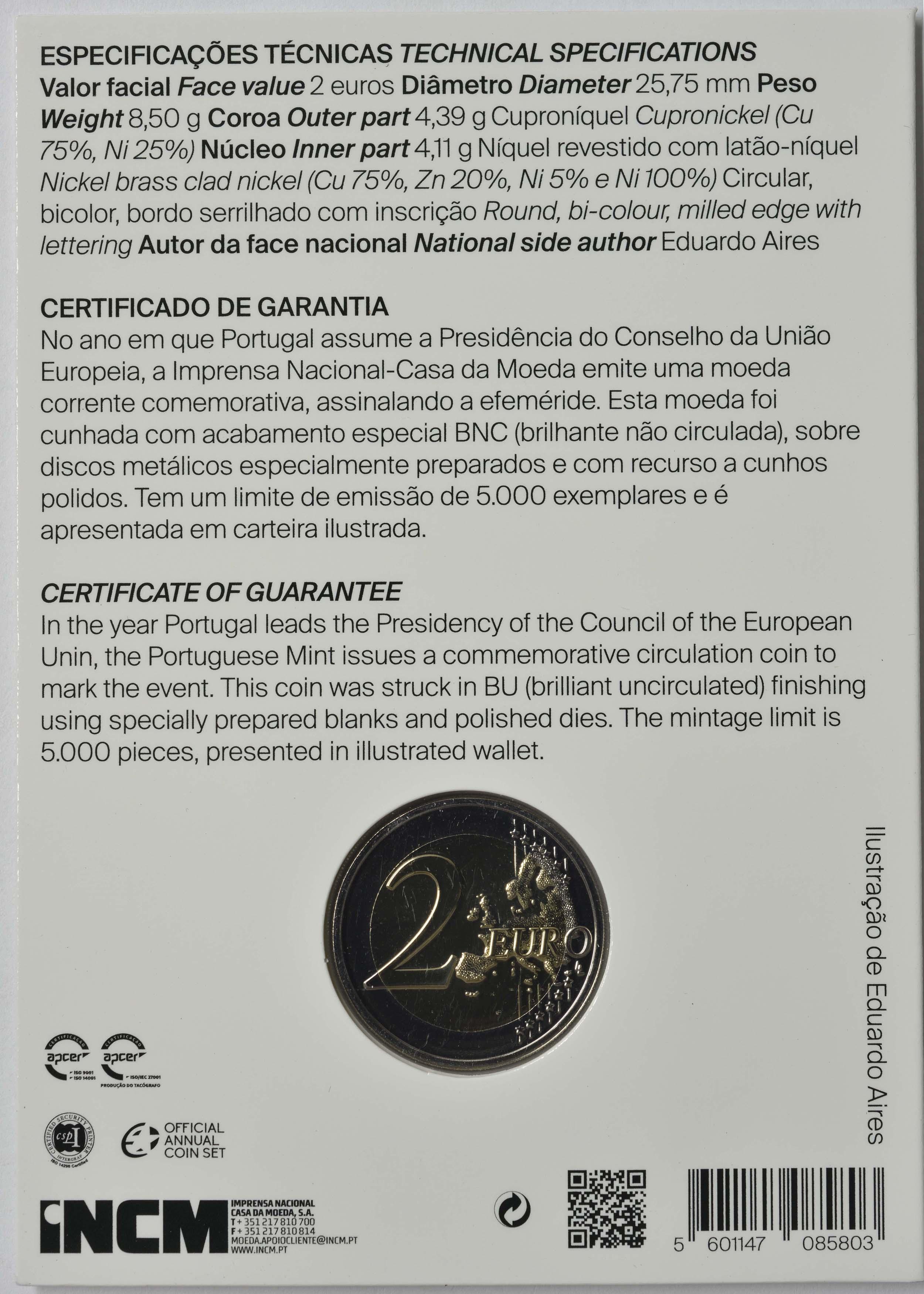 Zertifikat:Portugal : 2 Euro EU-Präsidentschaft  2021 Stgl.