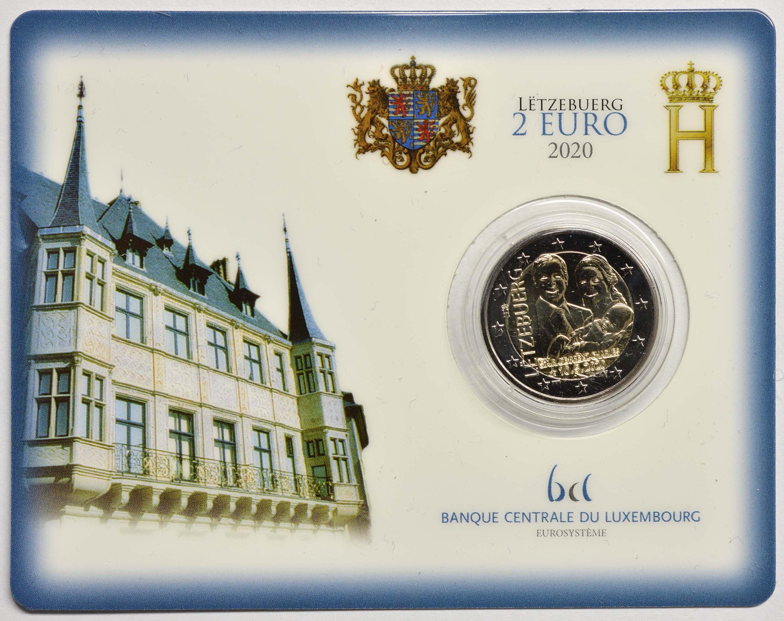 Lieferumfang:Luxemburg : 2 Euro Prinz Charles Münzzeichen Brücke  2020 Stgl.