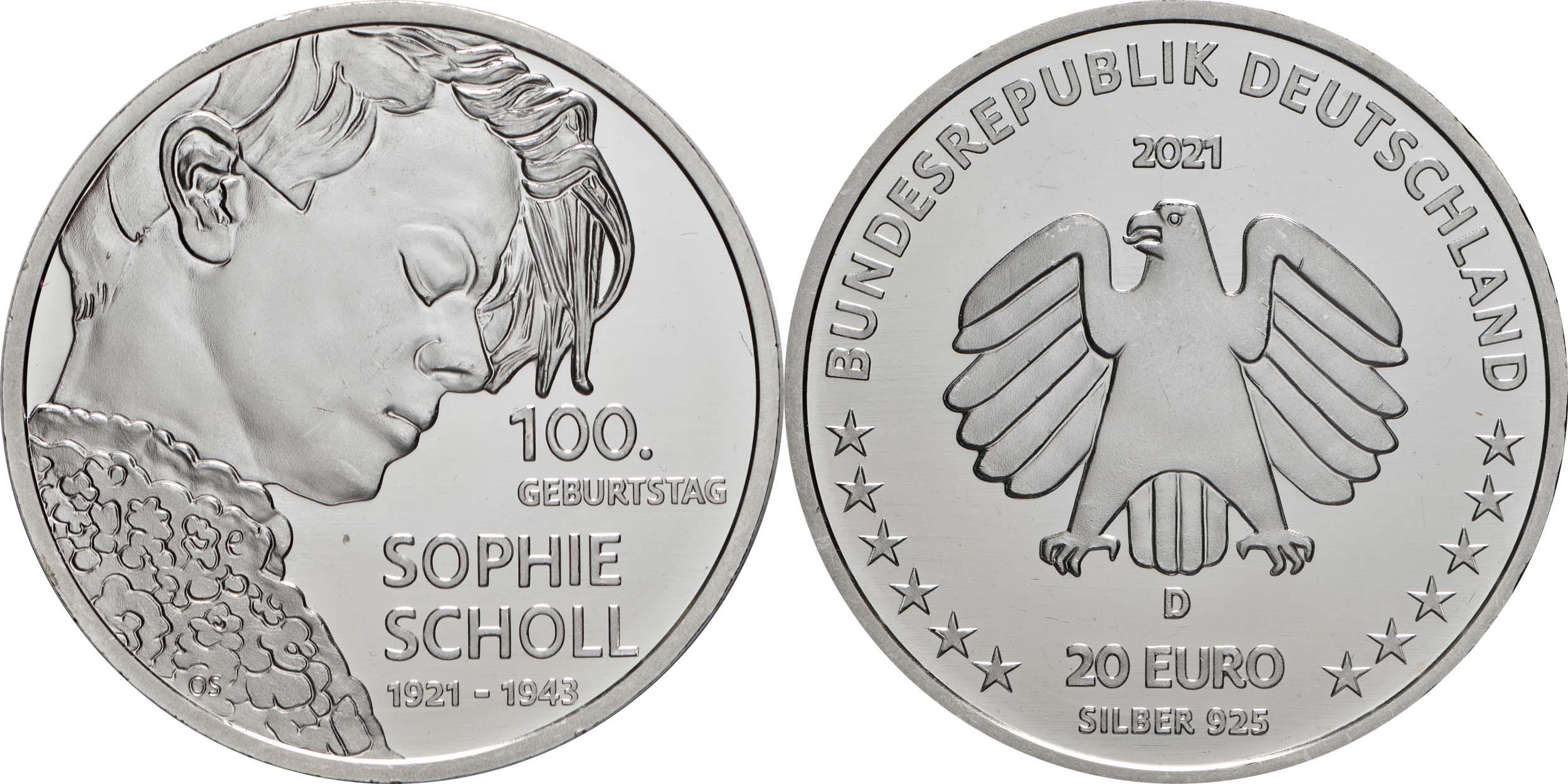 Lieferumfang:Deutschland : 20 Euro 100. Geburtstag Sophie Scholl  2021 bfr