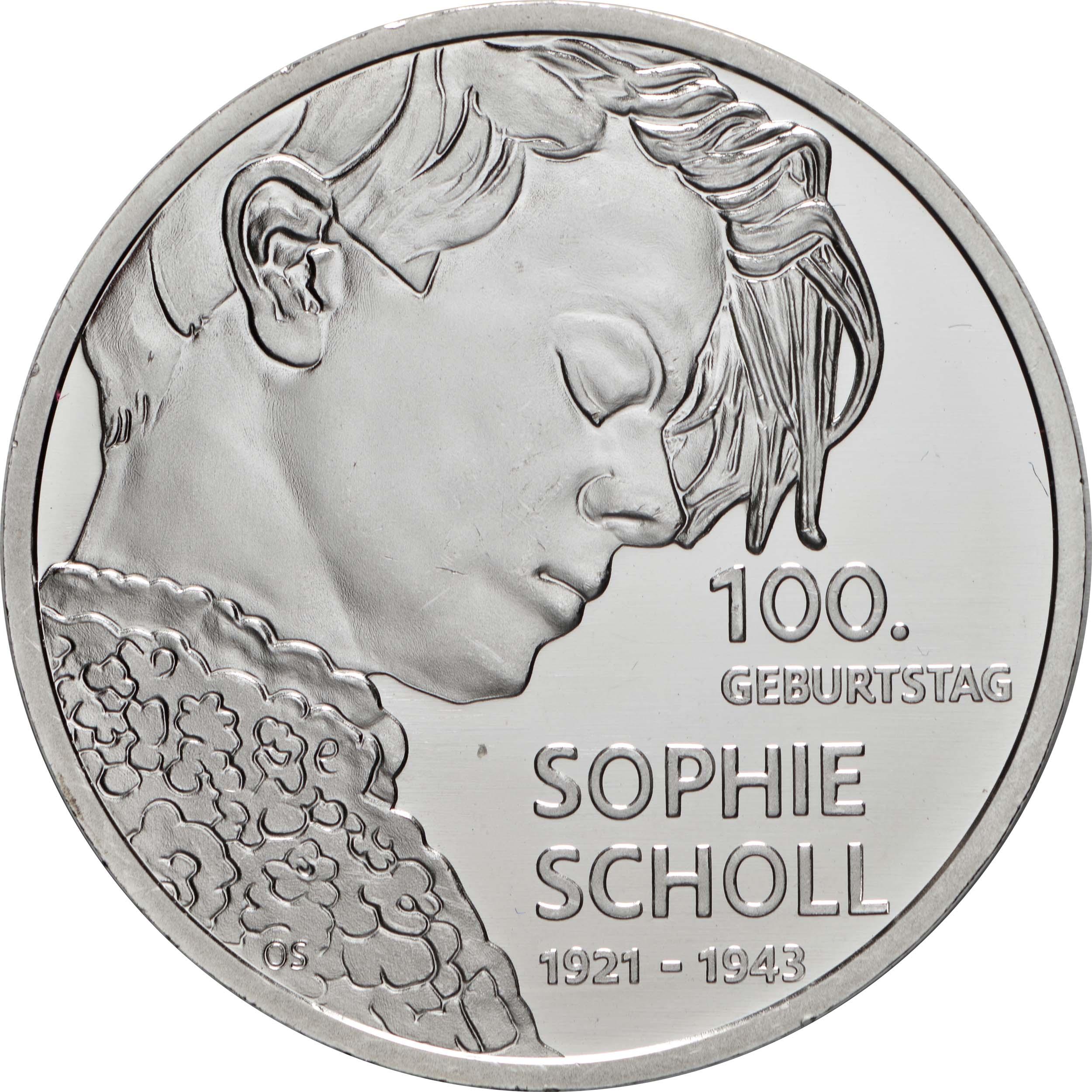 Vorderseite:Deutschland : 20 Euro 100. Geburtstag Sophie Scholl  2021 bfr