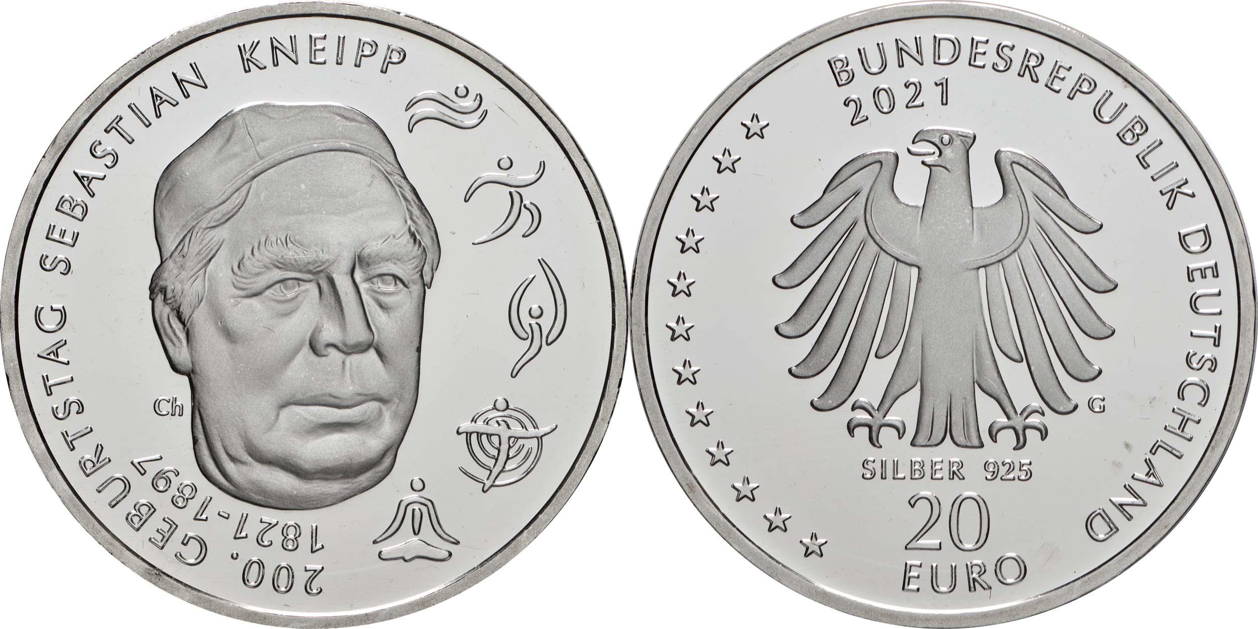 Lieferumfang:Deutschland : 20 Euro 200. Geburtstag Sebastian Kneipp  2021 bfr