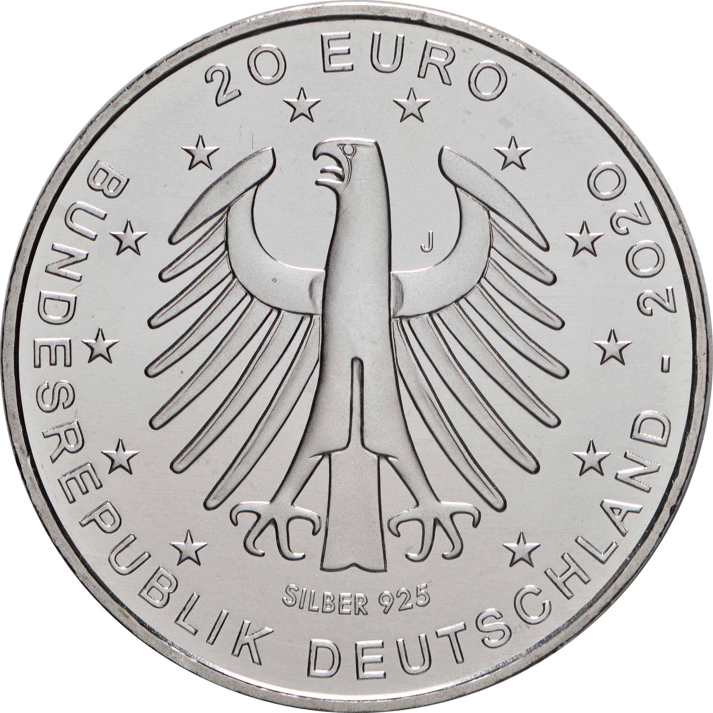 Rückseite:Deutschland : 20 Euro Fußball EM 2020  2021 bfr