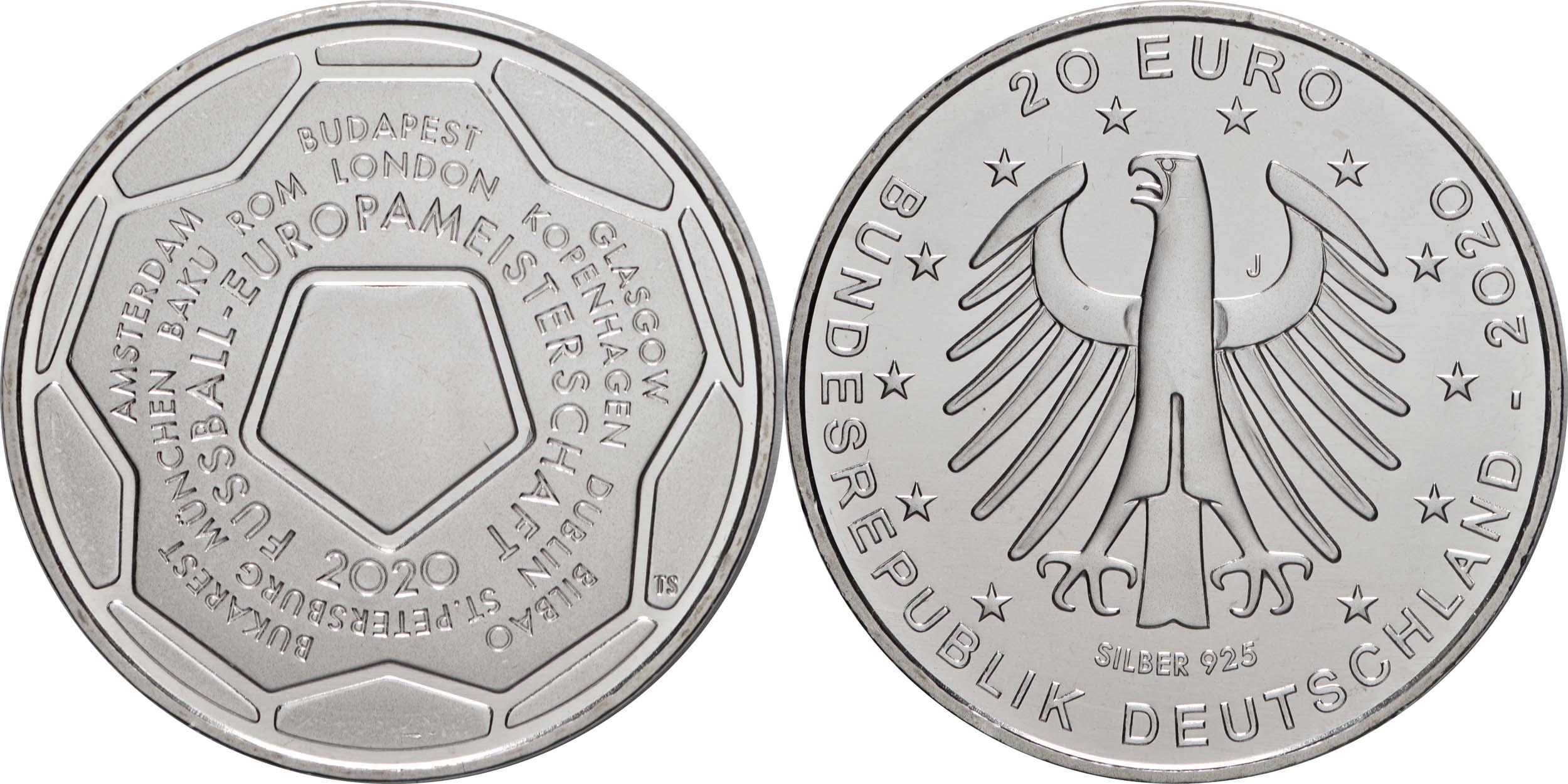 Lieferumfang:Deutschland : 20 Euro Fußball EM 2020  2021 bfr