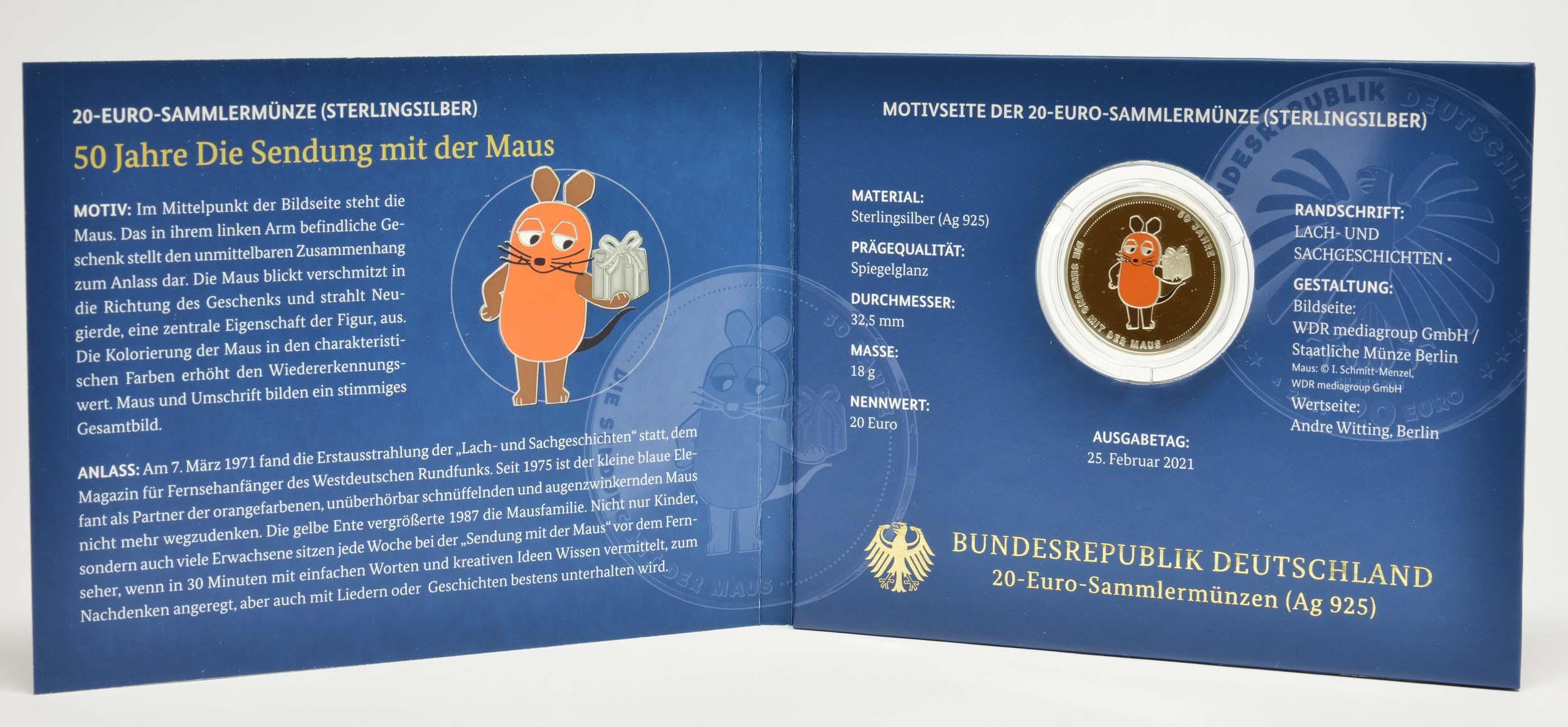 Lieferumfang:Deutschland : 20 Euro 50 Jahre Sendung mit der Maus  2021 PP