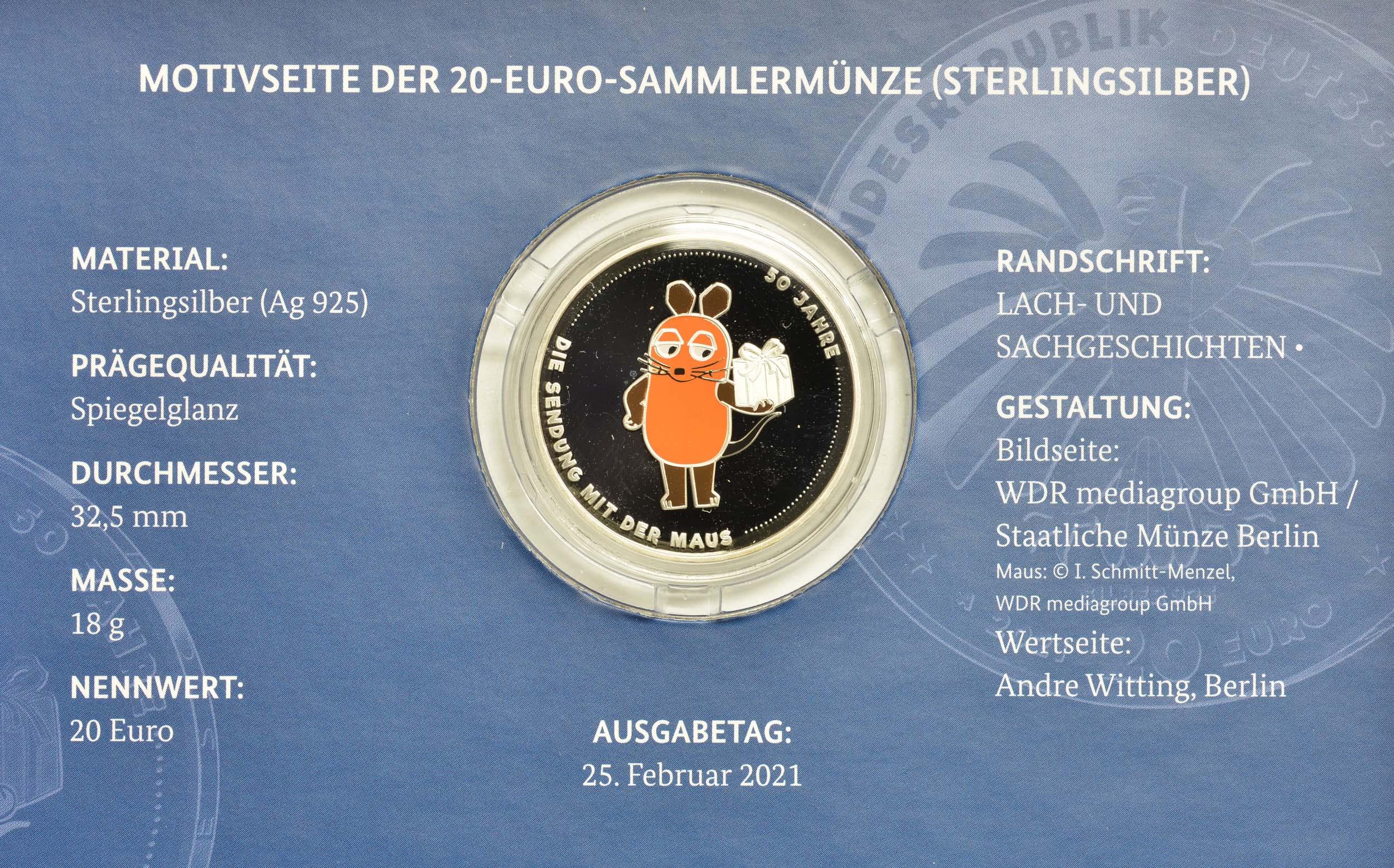 Zertifikat:Deutschland : 20 Euro 50 Jahre Sendung mit der Maus  2021 PP