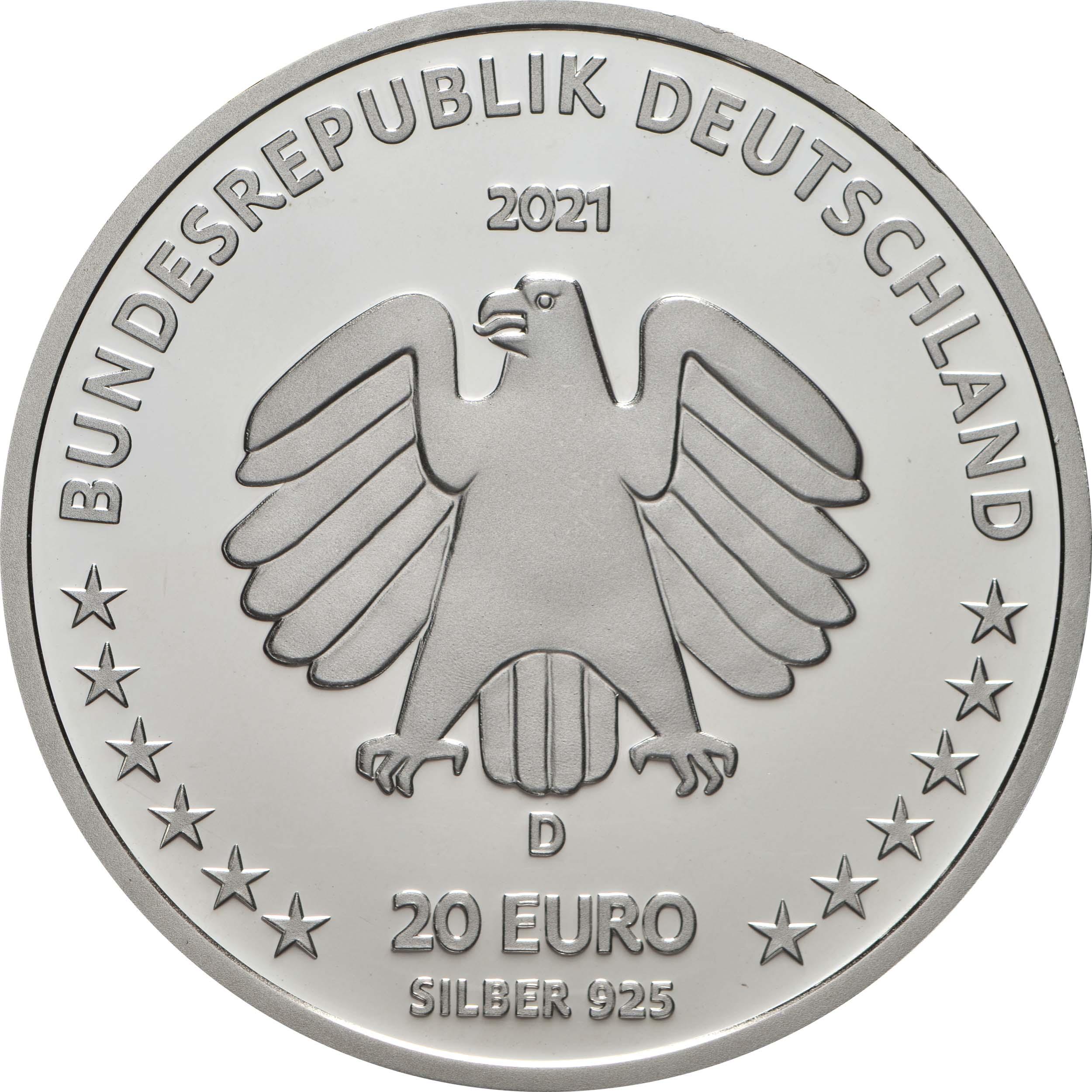 Rückseite:Deutschland : 20 Euro 100. Geburtstag Sophie Scholl  2021 PP