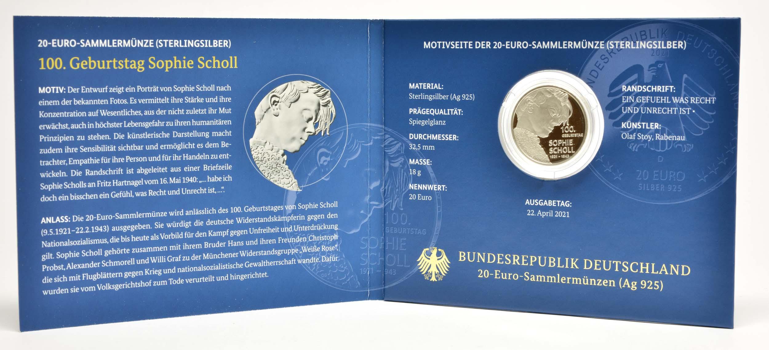 Lieferumfang:Deutschland : 20 Euro 100. Geburtstag Sophie Scholl  2021 PP