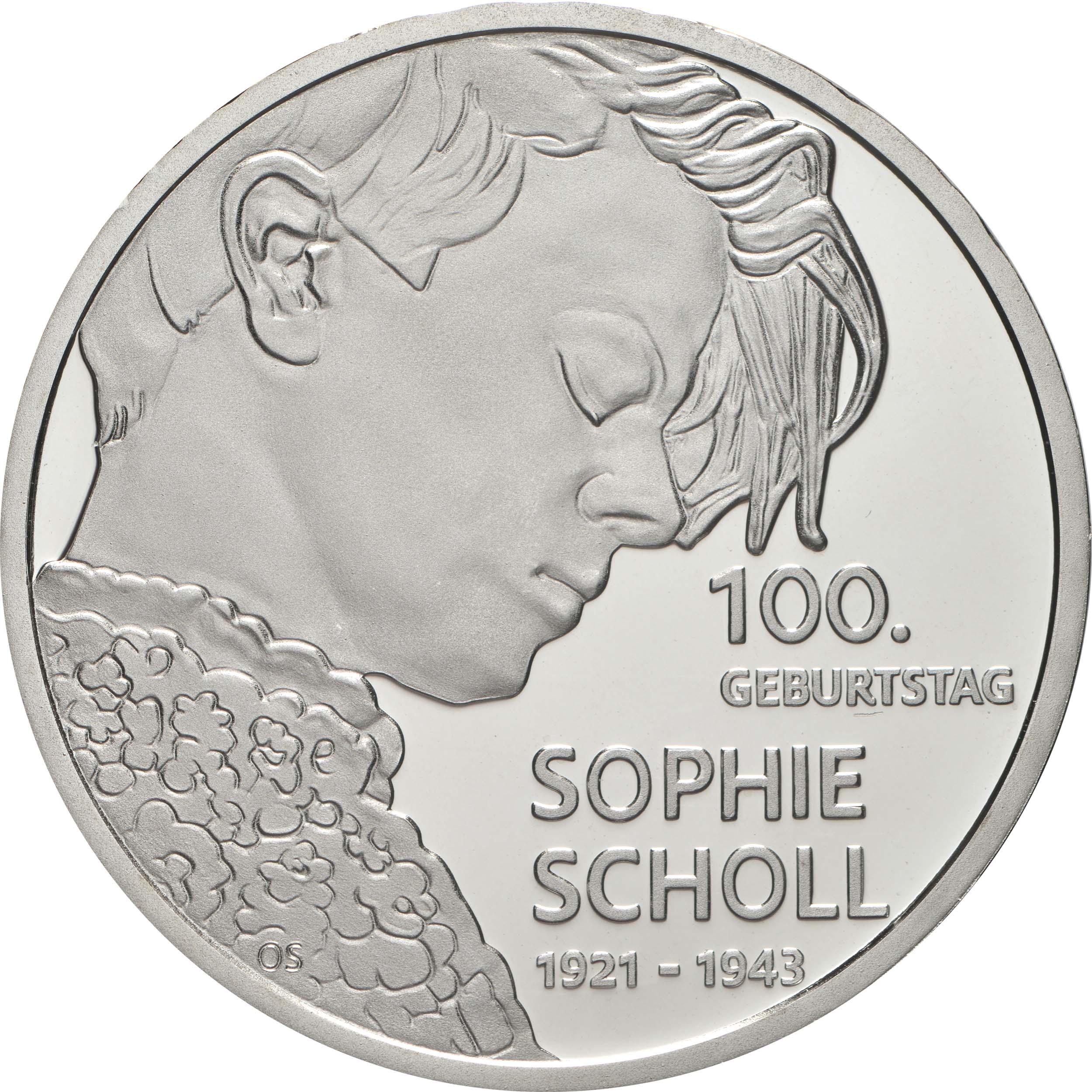 Vorderseite:Deutschland : 20 Euro 100. Geburtstag Sophie Scholl  2021 PP