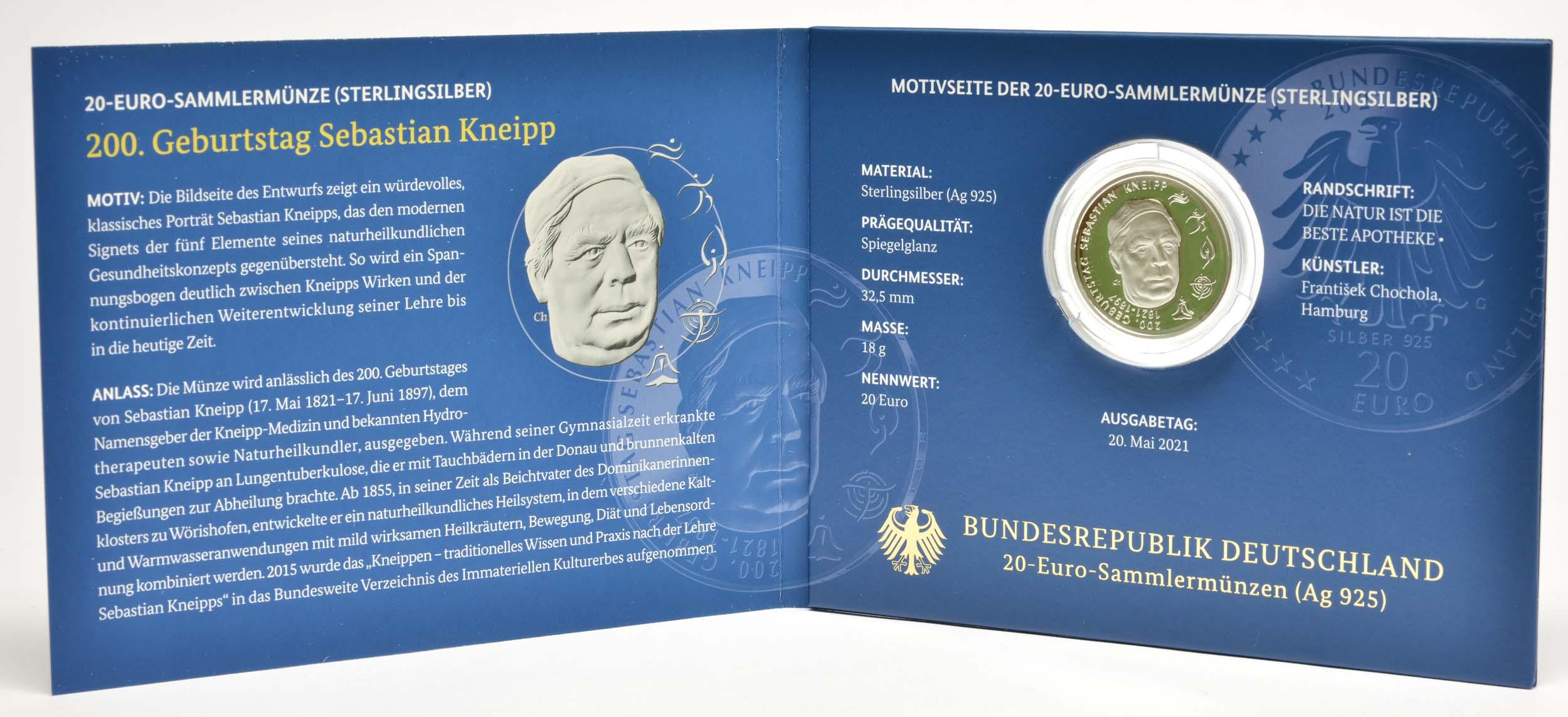Lieferumfang:Deutschland : 20 Euro 200. Geburtstag Sebastian Kneipp  2021 PP