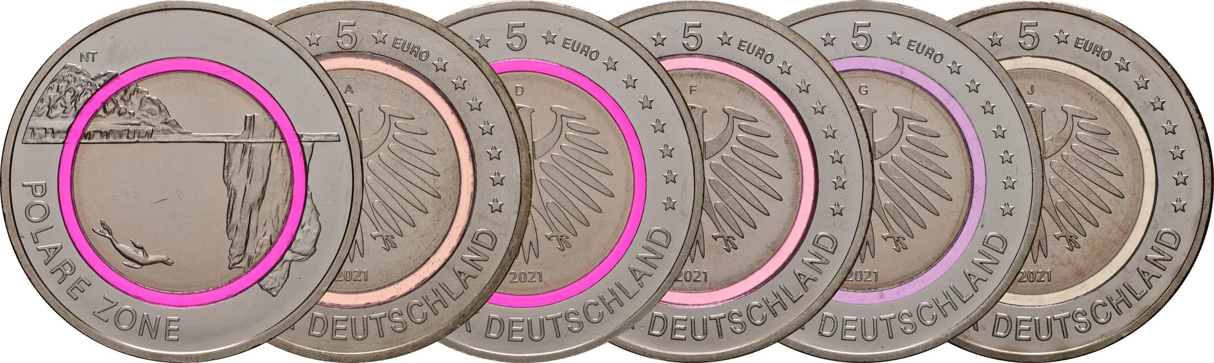 Lieferumfang:Deutschland : 5 Euro Polare Zone - violett Komplettsatz A-J  2021 bfr