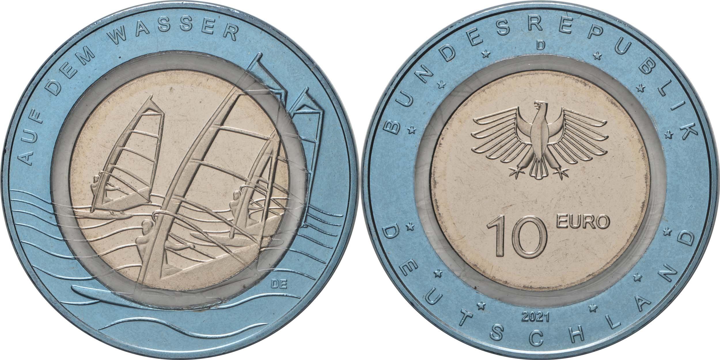 Lieferumfang:Deutschland : 10 Euro Auf dem Wasser Buchstabe unserer Wahl  2021 bfr