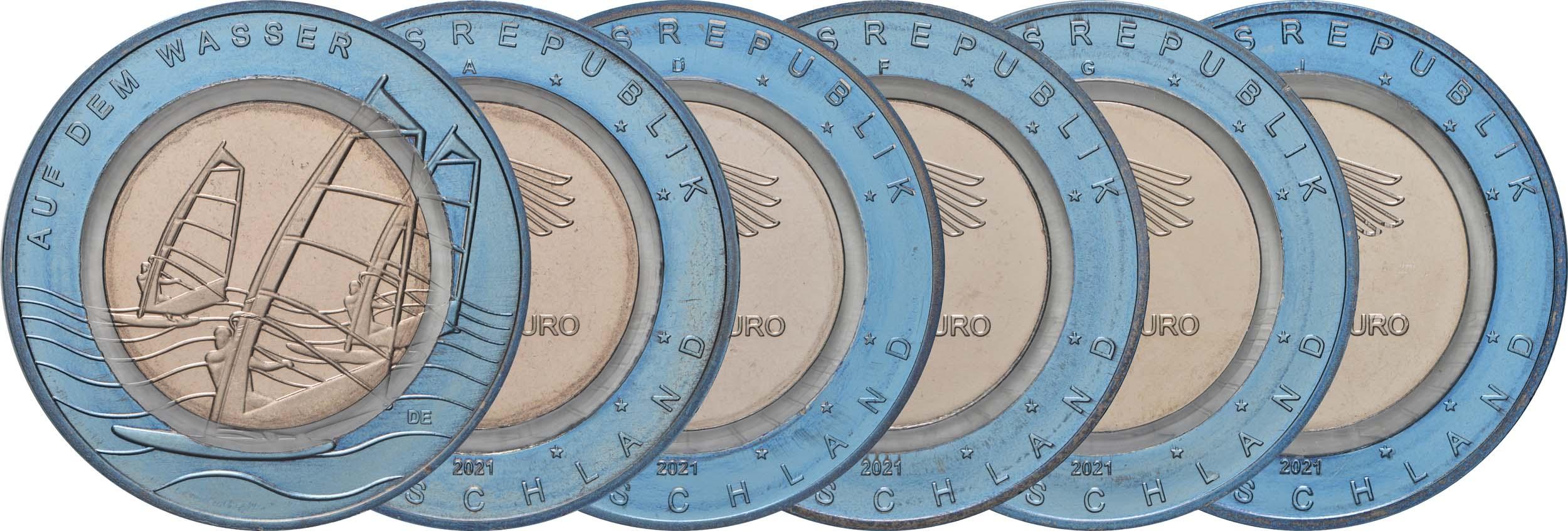 Lieferumfang:Deutschland : 10 Euro Auf dem Wasser Komlettsatz A-J  2021 bfr