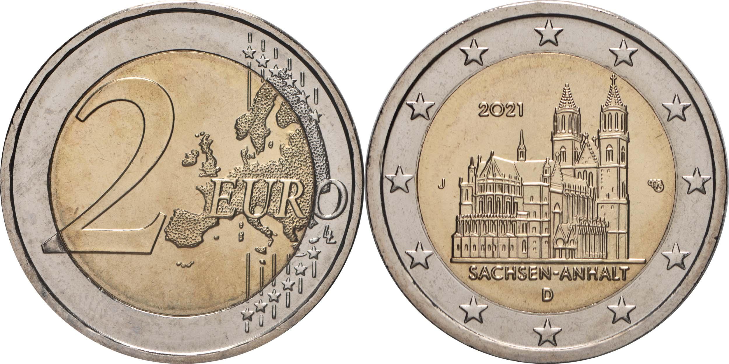 Lieferumfang:Deutschland : 2 Euro Sachsen-Anhalt - Magdeburger Dom Buchstabe unserer Wahl  2021 bfr
