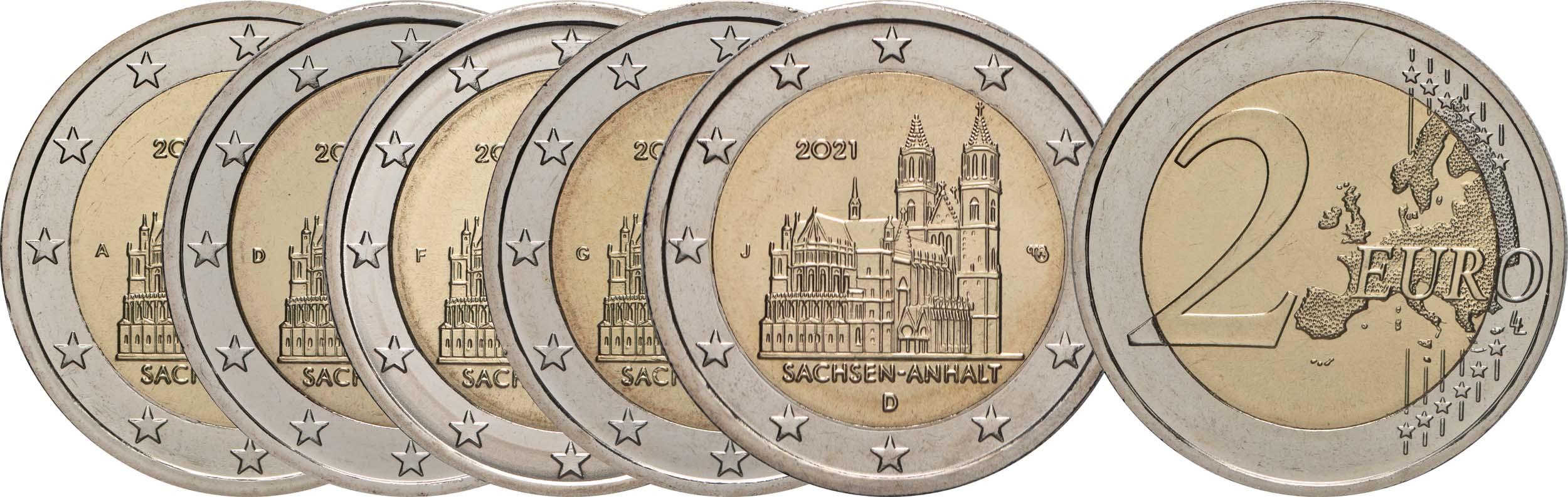 Lieferumfang:Deutschland : 2 Euro Sachsen-Anhalt - Magdeburger Dom Komplettsatz A-J  2021 bfr