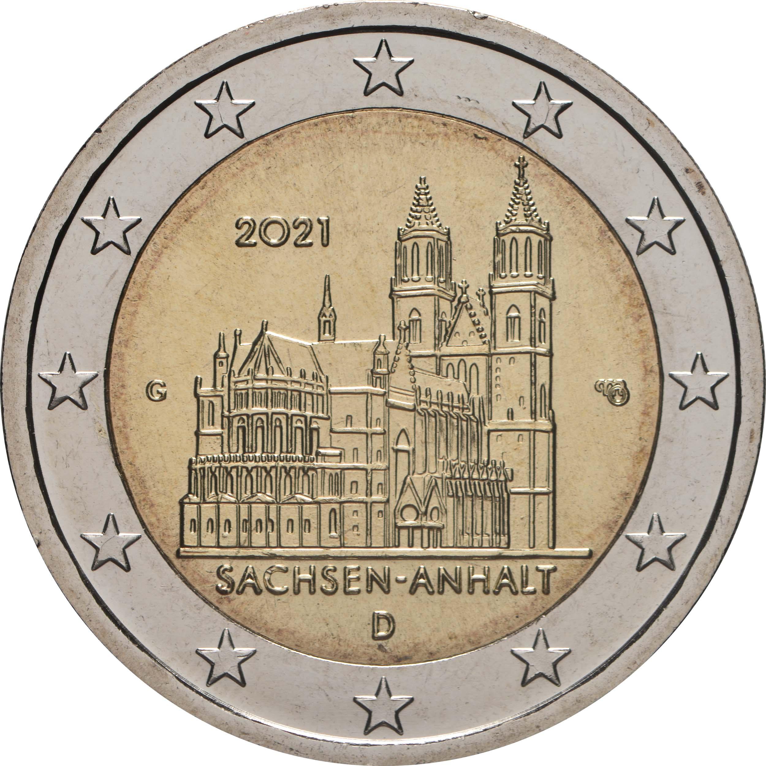 Rückseite:Deutschland : 2 Euro Sachsen-Anhalt - Magdeburger Dom  2021 bfr