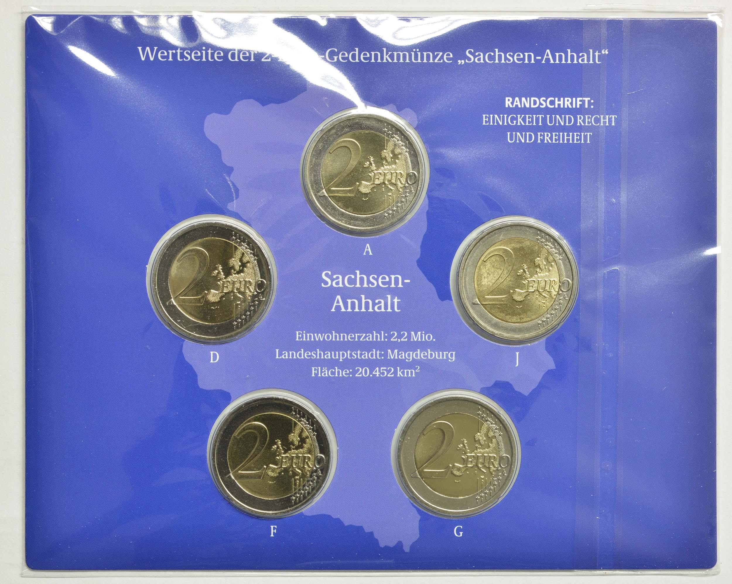 Rückseite:Deutschland : 2 Euro Sachsen-Anhalt - Magdeburger Dom Komplettsatz A-J  2021 Stgl.