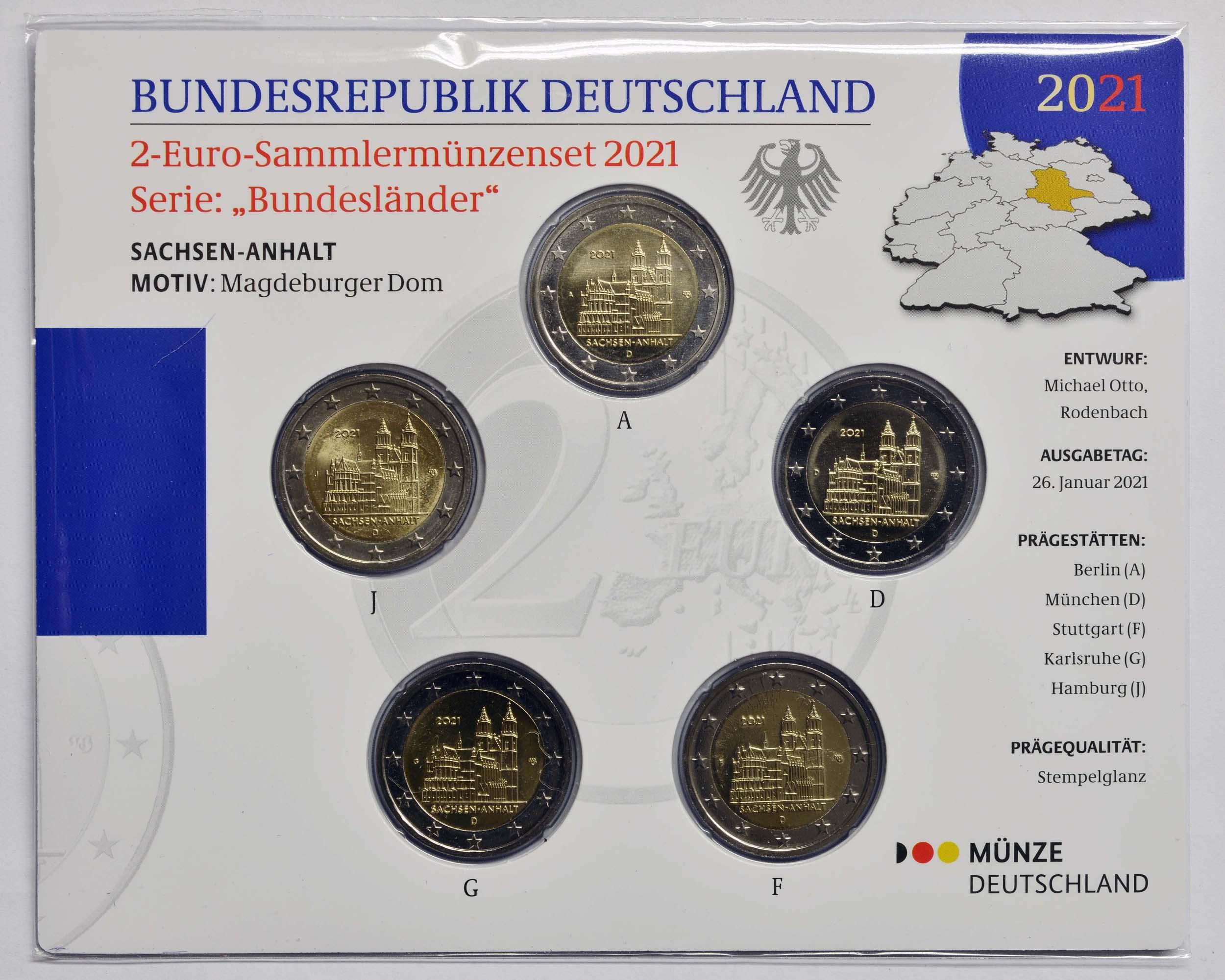 Lieferumfang:Deutschland : 2 Euro Sachsen-Anhalt - Magdeburger Dom Komplettsatz A-J  2021 Stgl.