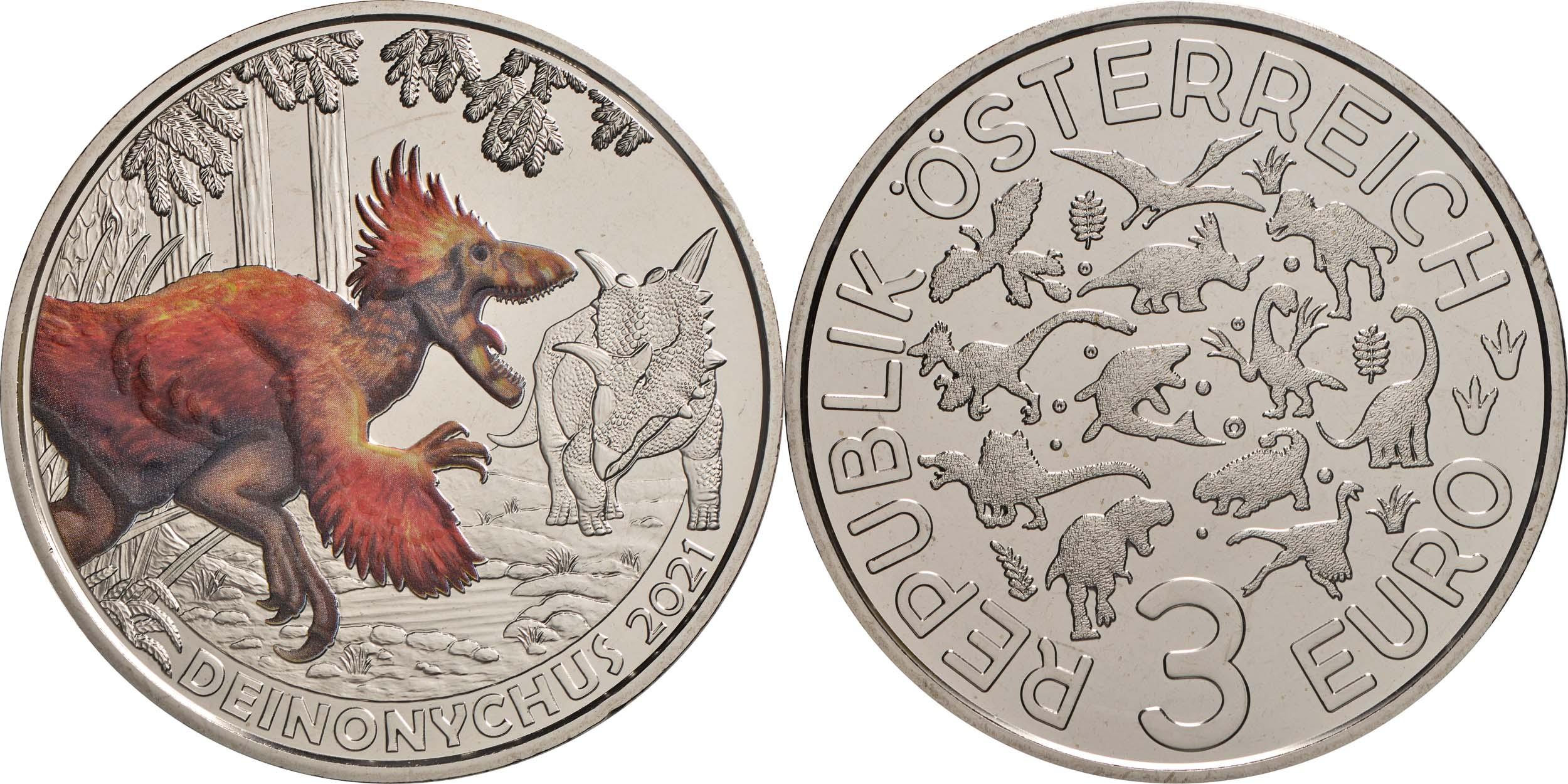 Lieferumfang:Österreich : 3 Euro Deinonychus antirrhopus - Der cleverste Saurier  2021 Stgl.