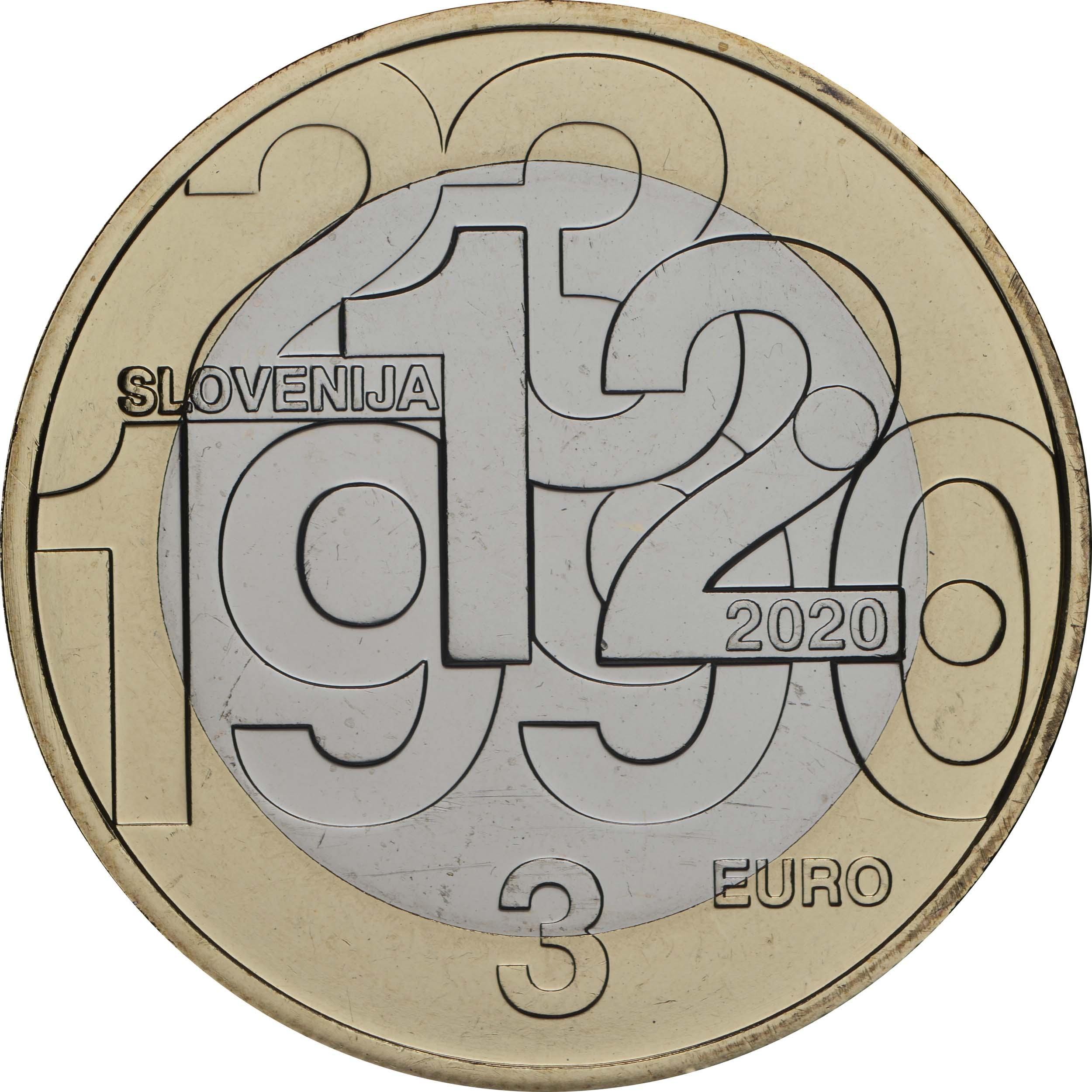 Rückseite:Slowenien : 3 Euro 30 Jahre Unabhängigkeit  2020 Stgl.