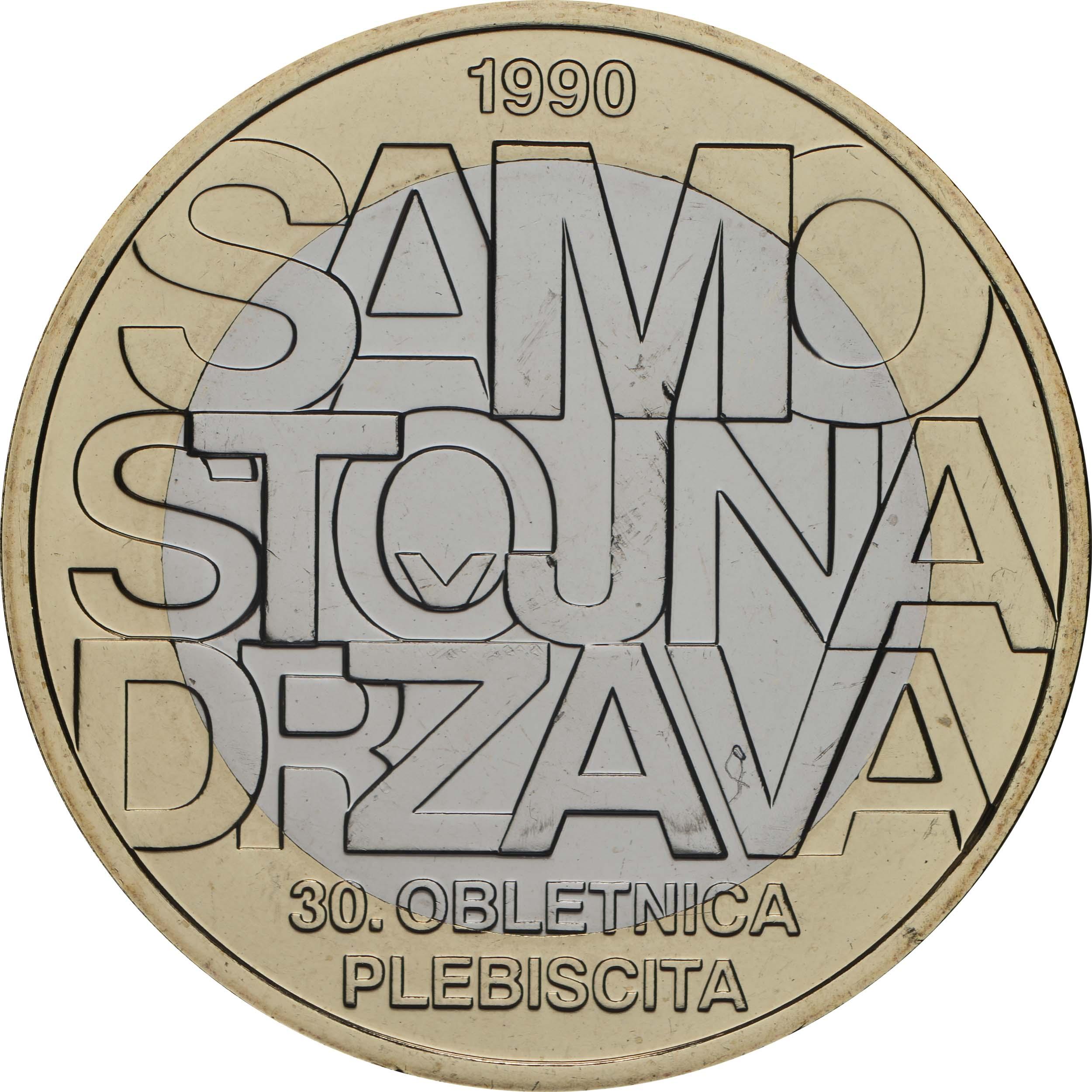 Vorderseite:Slowenien : 3 Euro 30 Jahre Unabhängigkeit  2020 Stgl.