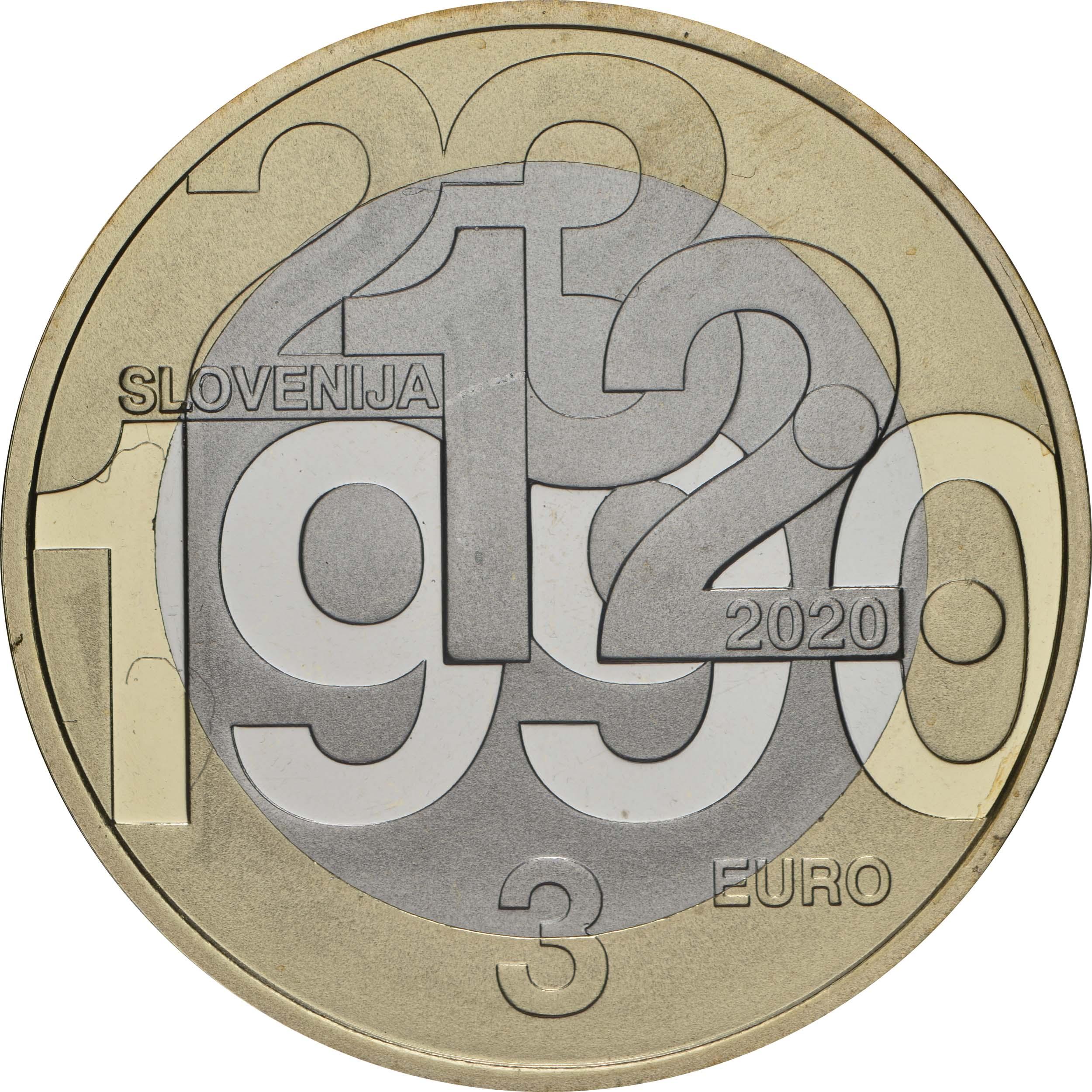 Rückseite:Slowenien : 3 Euro 30 Jahre Unabhängigkeit  2020 PP