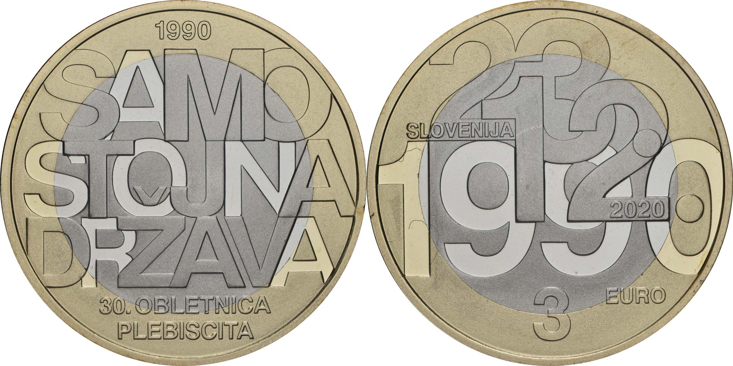 Lieferumfang:Slowenien : 3 Euro 30 Jahre Unabhängigkeit  2020 PP