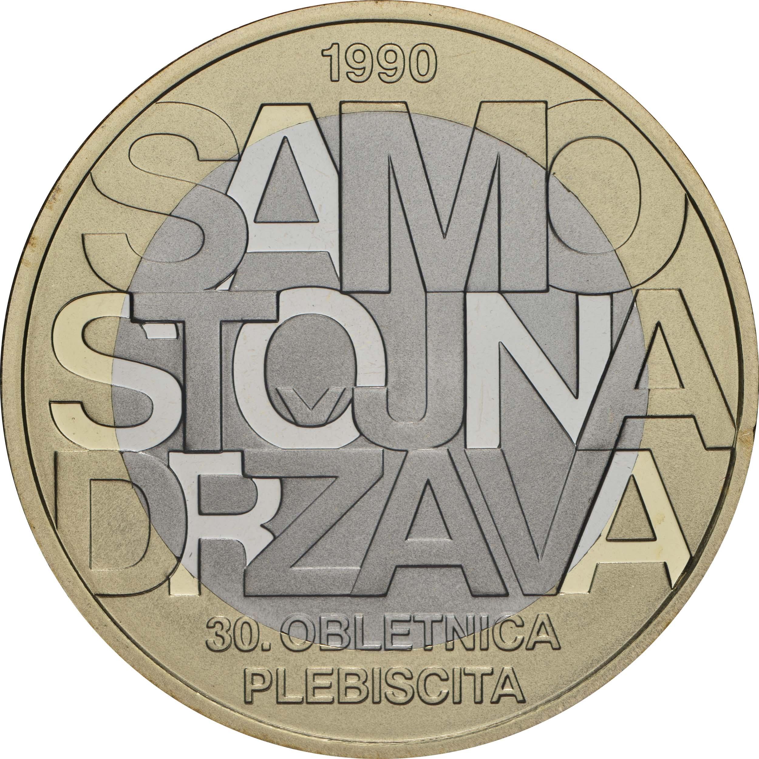 Vorderseite:Slowenien : 3 Euro 30 Jahre Unabhängigkeit  2020 PP