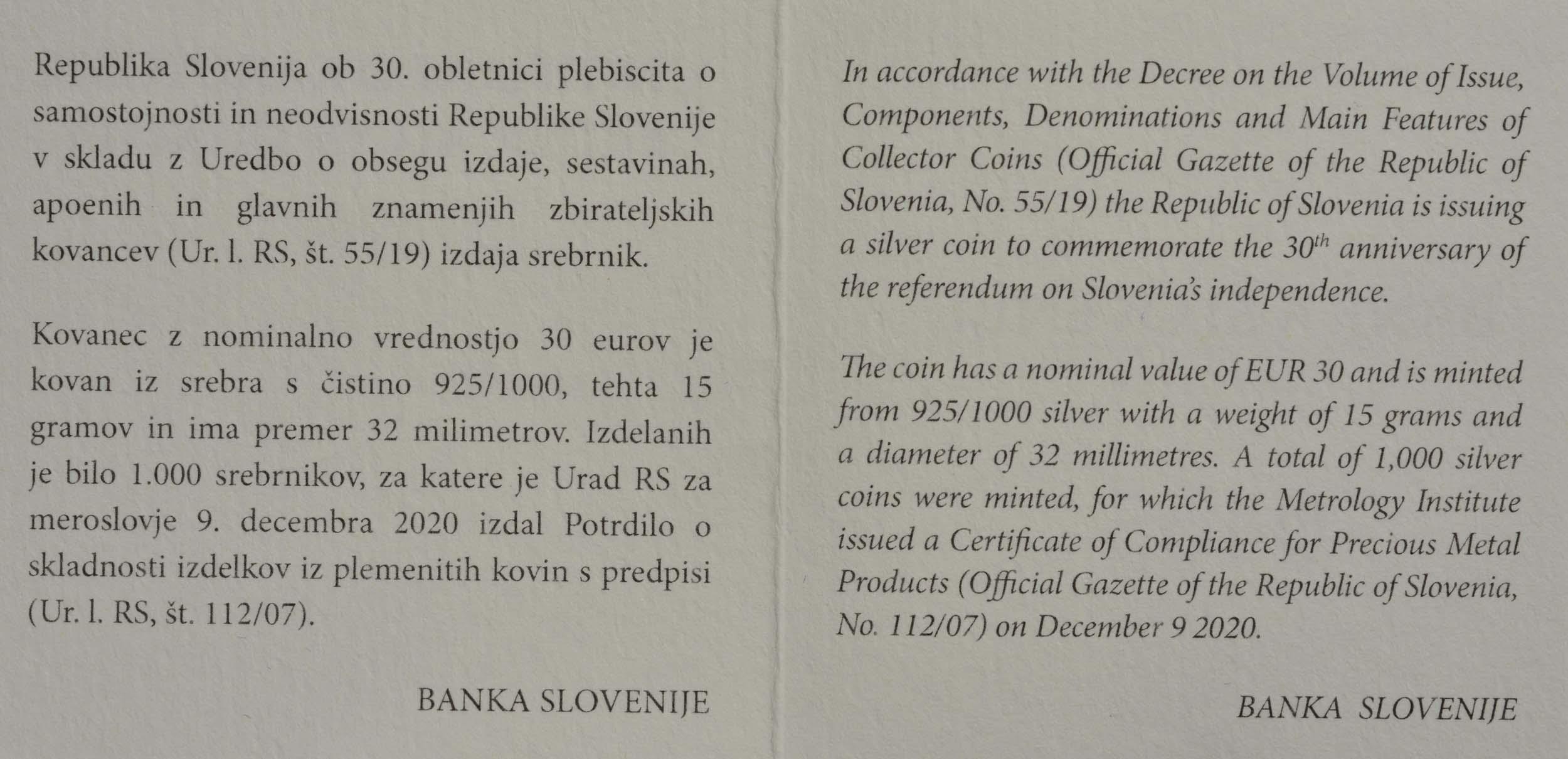 Zertifikat:Slowenien : 30 Euro 30 Jahre Unabhängigkeit  2020 PP