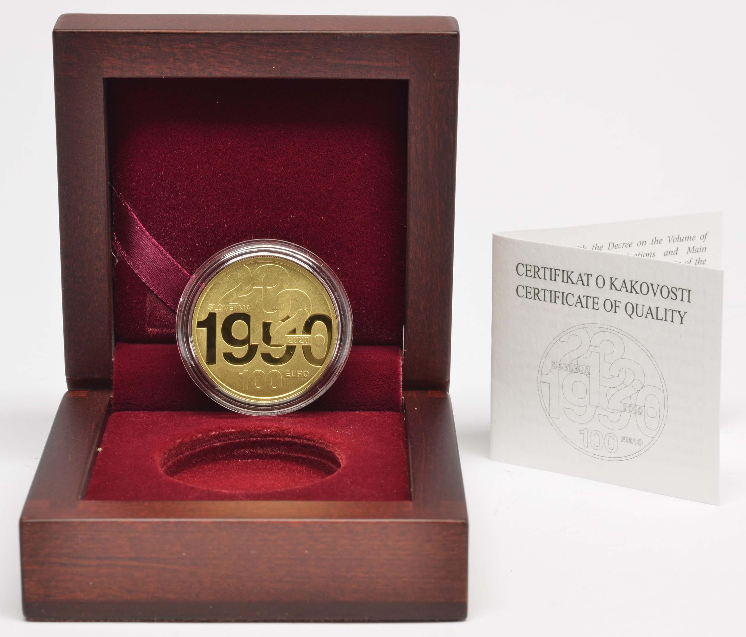 Lieferumfang:Slowenien : 100 Euro 30 Jahre Unabhängigkeit  2020 PP