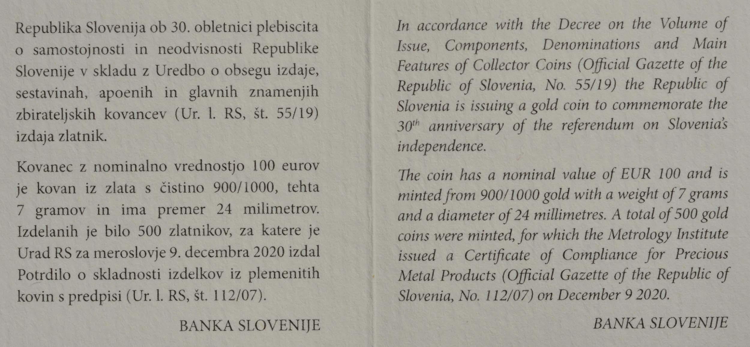 Zertifikat:Slowenien : 100 Euro 30 Jahre Unabhängigkeit  2020 PP